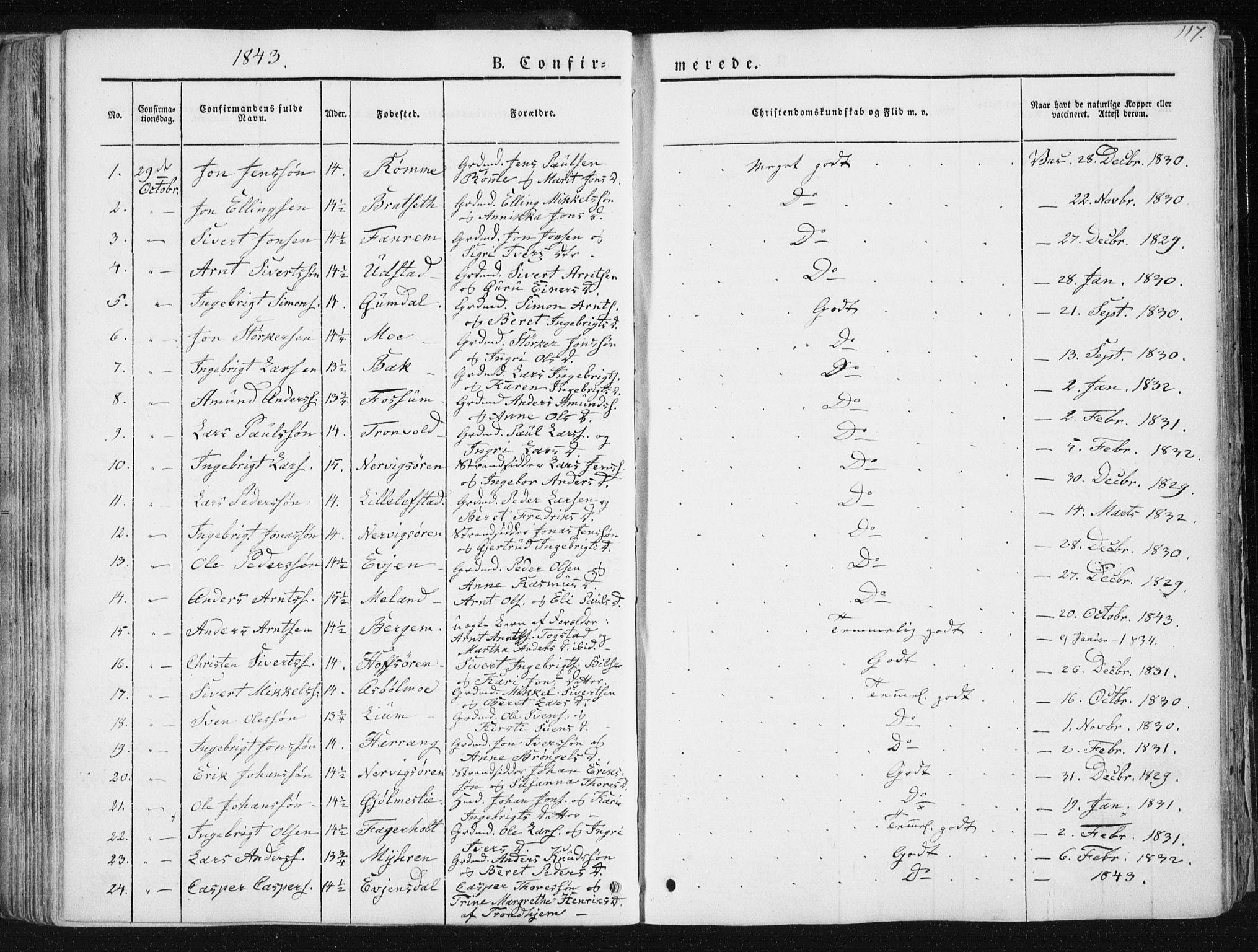 SAT, Ministerialprotokoller, klokkerbøker og fødselsregistre - Sør-Trøndelag, 668/L0805: Ministerialbok nr. 668A05, 1840-1853, s. 117