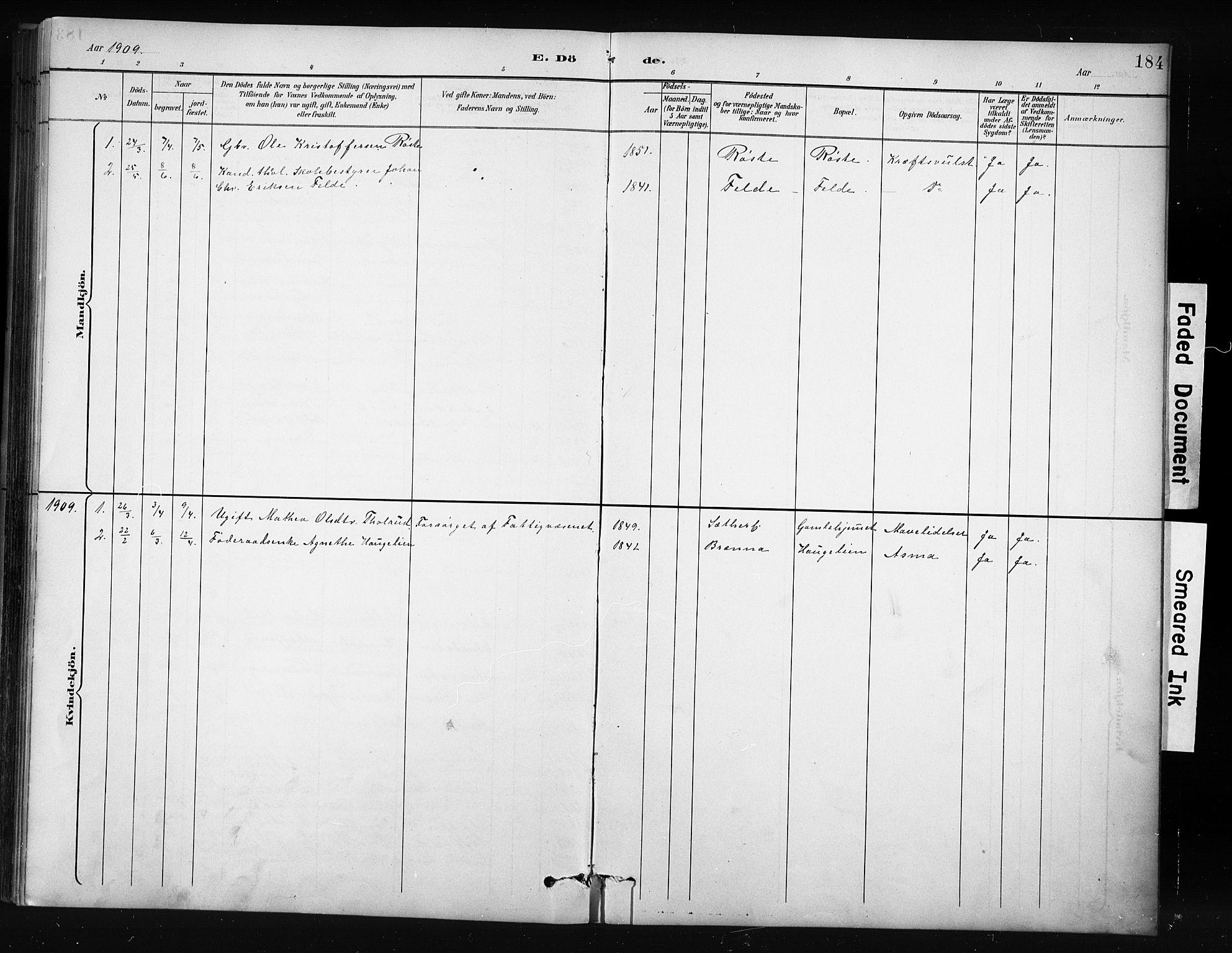 SAH, Nordre Land prestekontor, Klokkerbok nr. 12, 1891-1909, s. 184