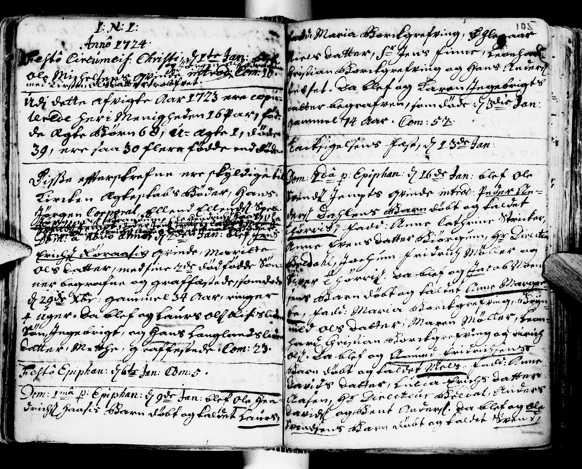 SAT, Ministerialprotokoller, klokkerbøker og fødselsregistre - Sør-Trøndelag, 681/L0924: Ministerialbok nr. 681A02, 1720-1731, s. 104-105