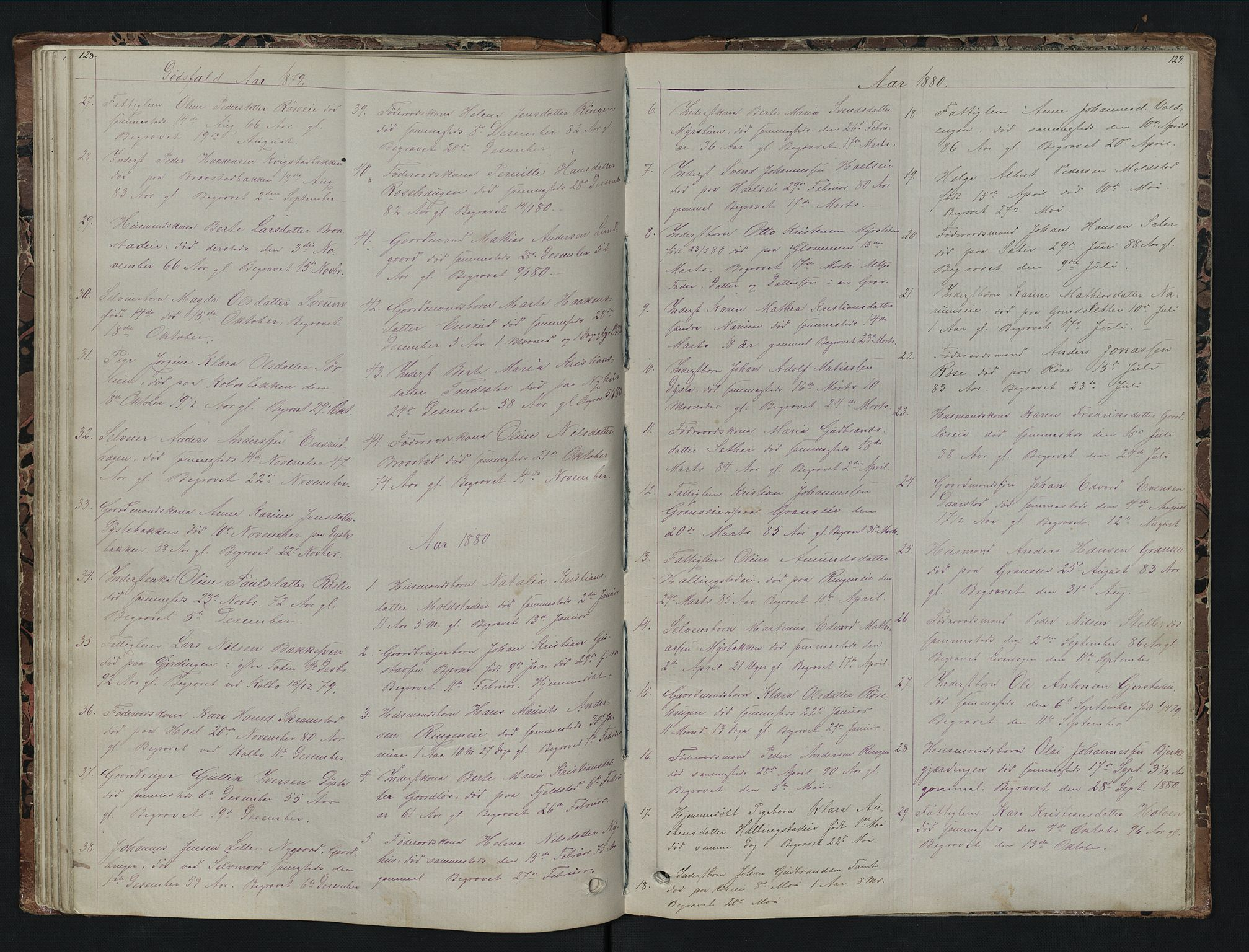SAH, Vestre Toten prestekontor, H/Ha/Hab/L0007: Klokkerbok nr. 7, 1872-1900, s. 128-129