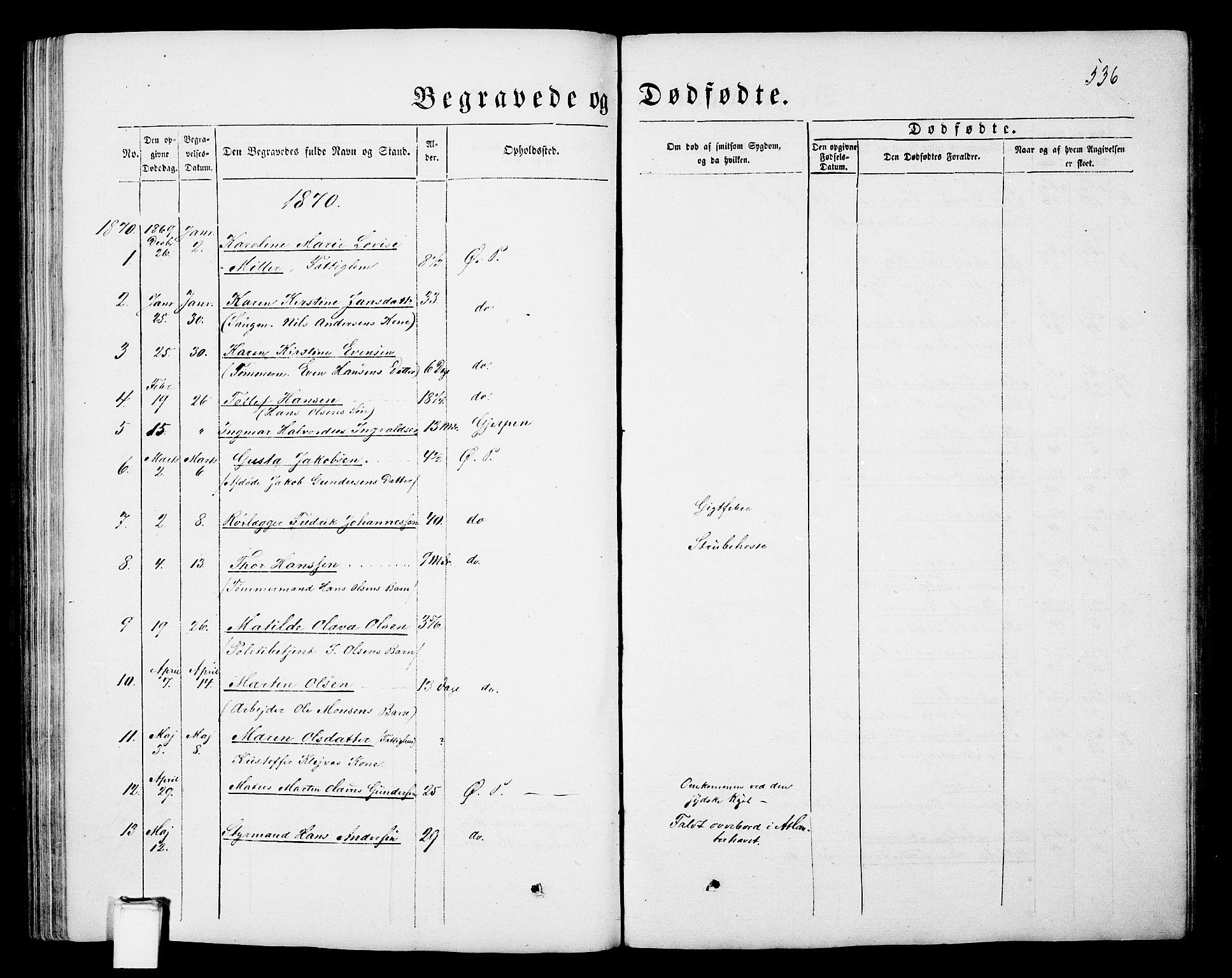 SAKO, Porsgrunn kirkebøker , G/Gb/L0004: Klokkerbok nr. II 4, 1853-1882, s. 536
