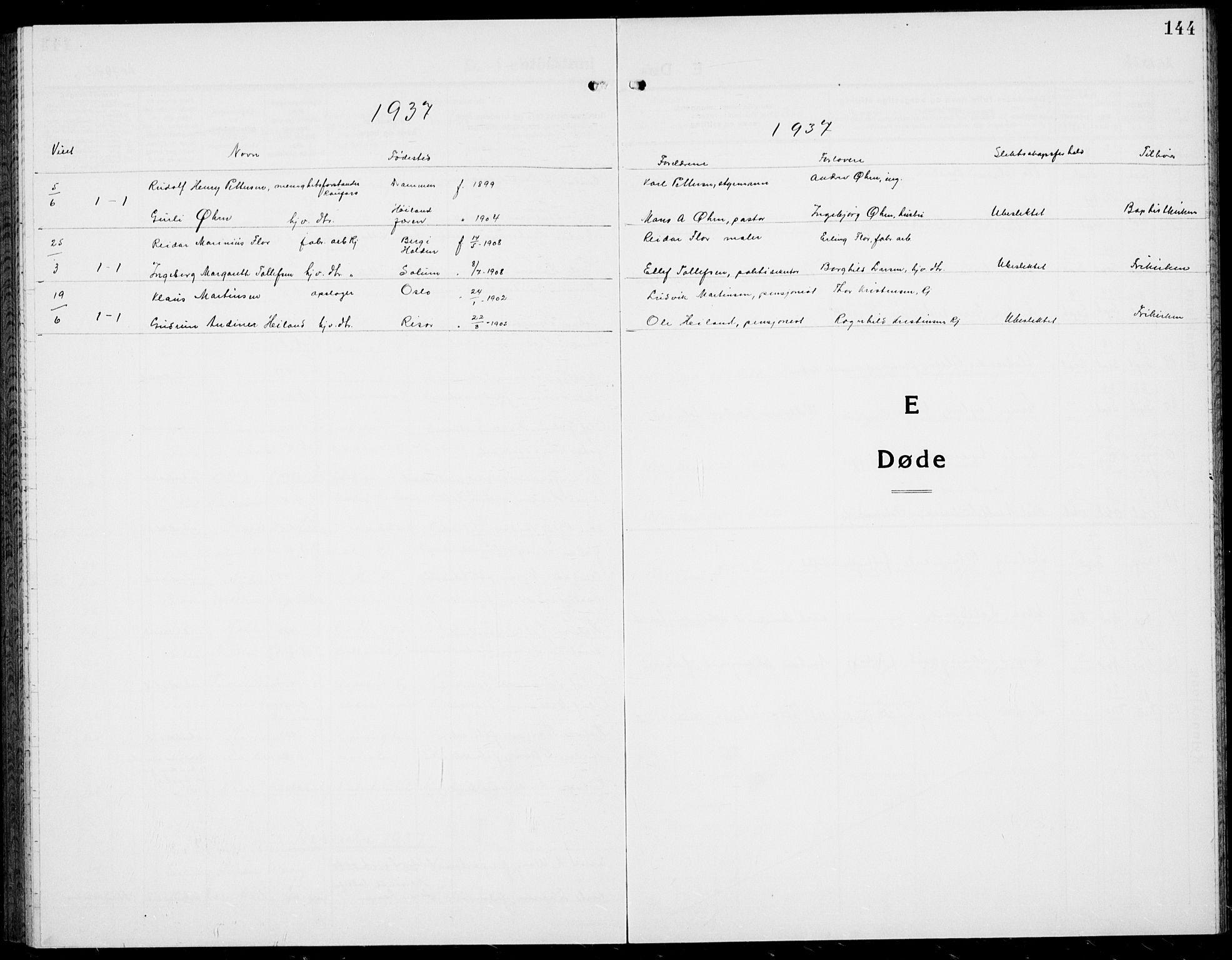 SAKO, Rjukan kirkebøker, G/Ga/L0005: Klokkerbok nr. 5, 1928-1937, s. 144