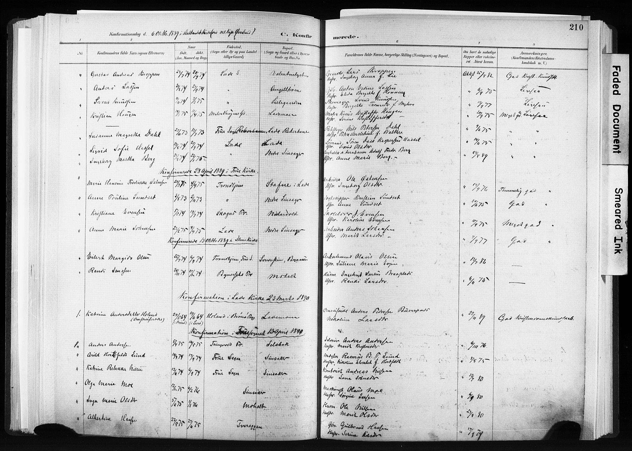 SAT, Ministerialprotokoller, klokkerbøker og fødselsregistre - Sør-Trøndelag, 606/L0300: Ministerialbok nr. 606A15, 1886-1893, s. 210