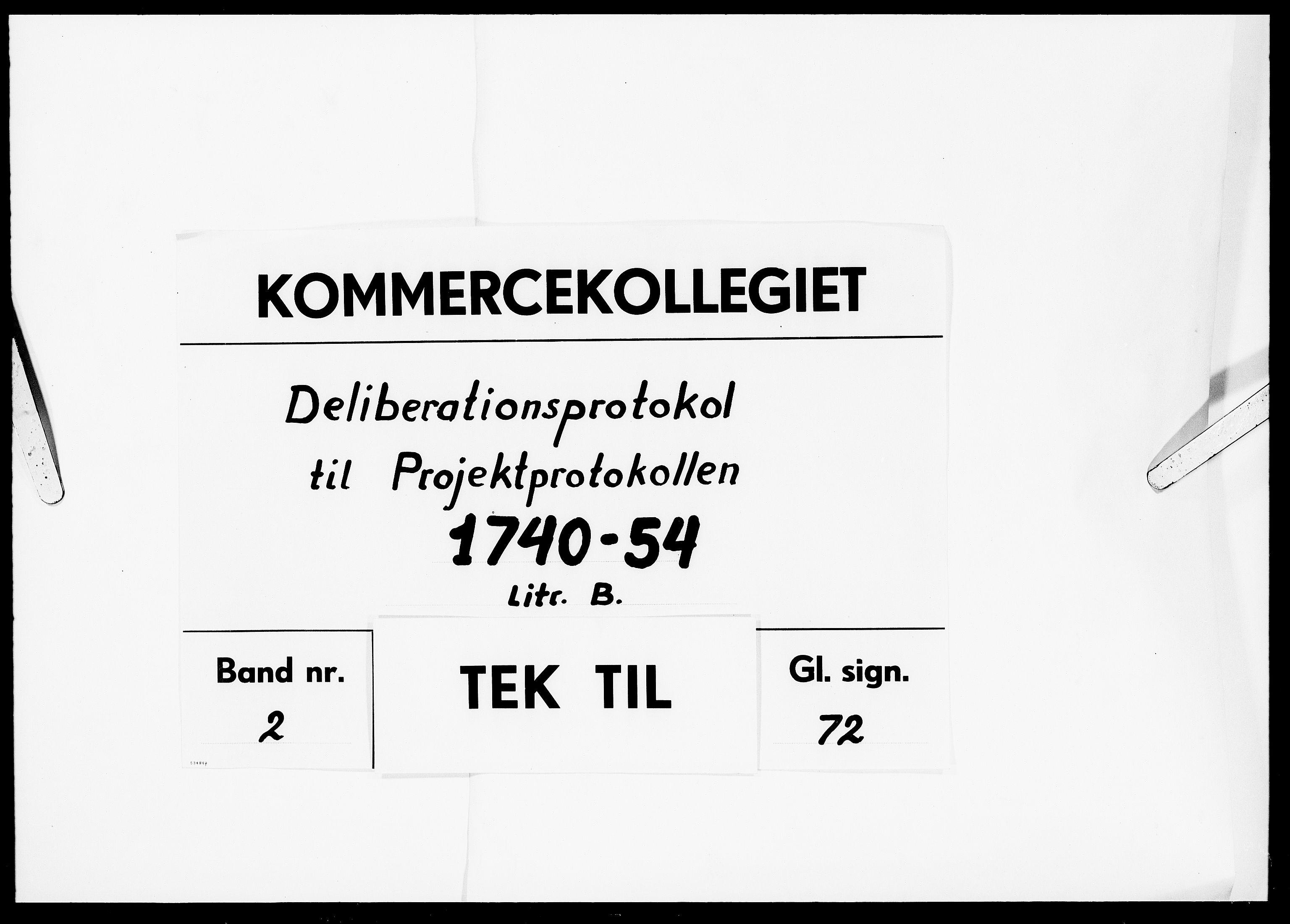 DRA, Kommercekollegiet, Dansk-Norske Sekretariat, -/40: Deliberationsprotokol til Projektprotokollen B, 1740-1754