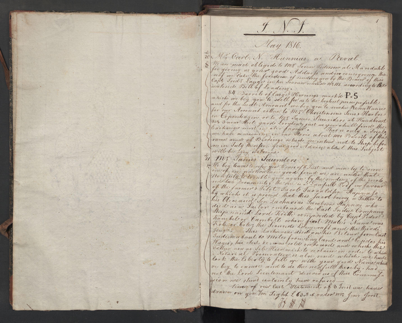 SAST, Pa 0003 - Ploug & Sundt, handelshuset, B/L0010: Kopibok, 1816-1822, s. 1a