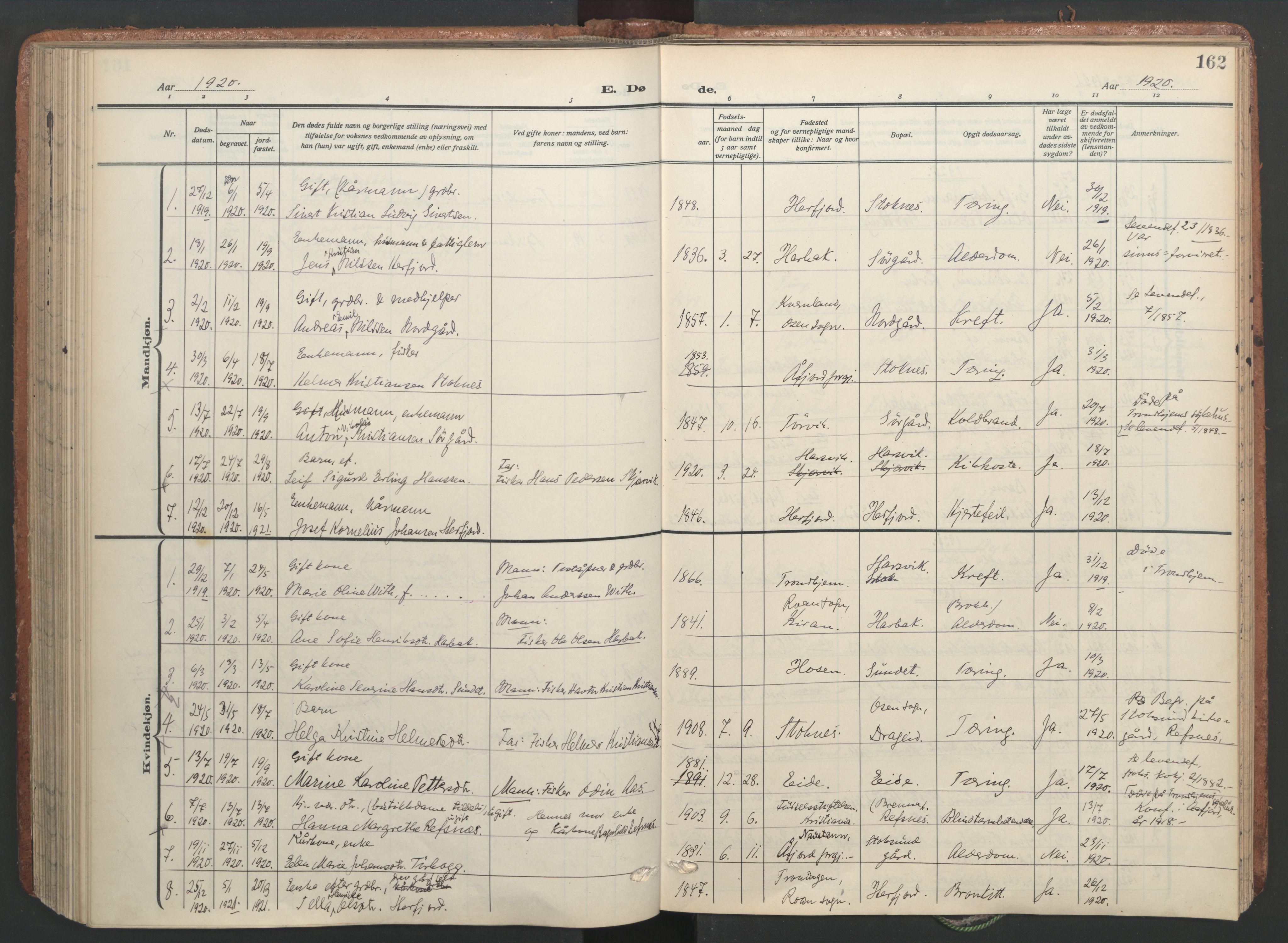 SAT, Ministerialprotokoller, klokkerbøker og fødselsregistre - Sør-Trøndelag, 656/L0694: Ministerialbok nr. 656A03, 1914-1931, s. 162