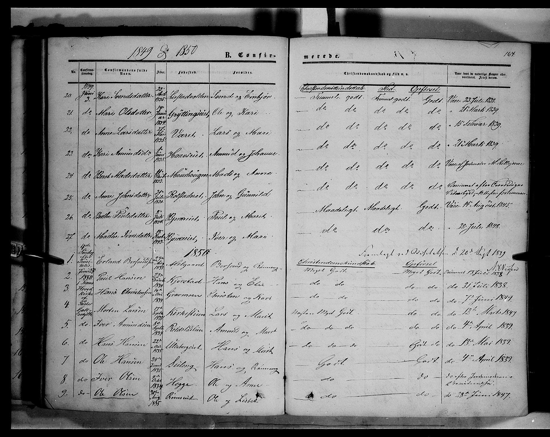 SAH, Sør-Fron prestekontor, H/Ha/Haa/L0001: Ministerialbok nr. 1, 1849-1863, s. 164