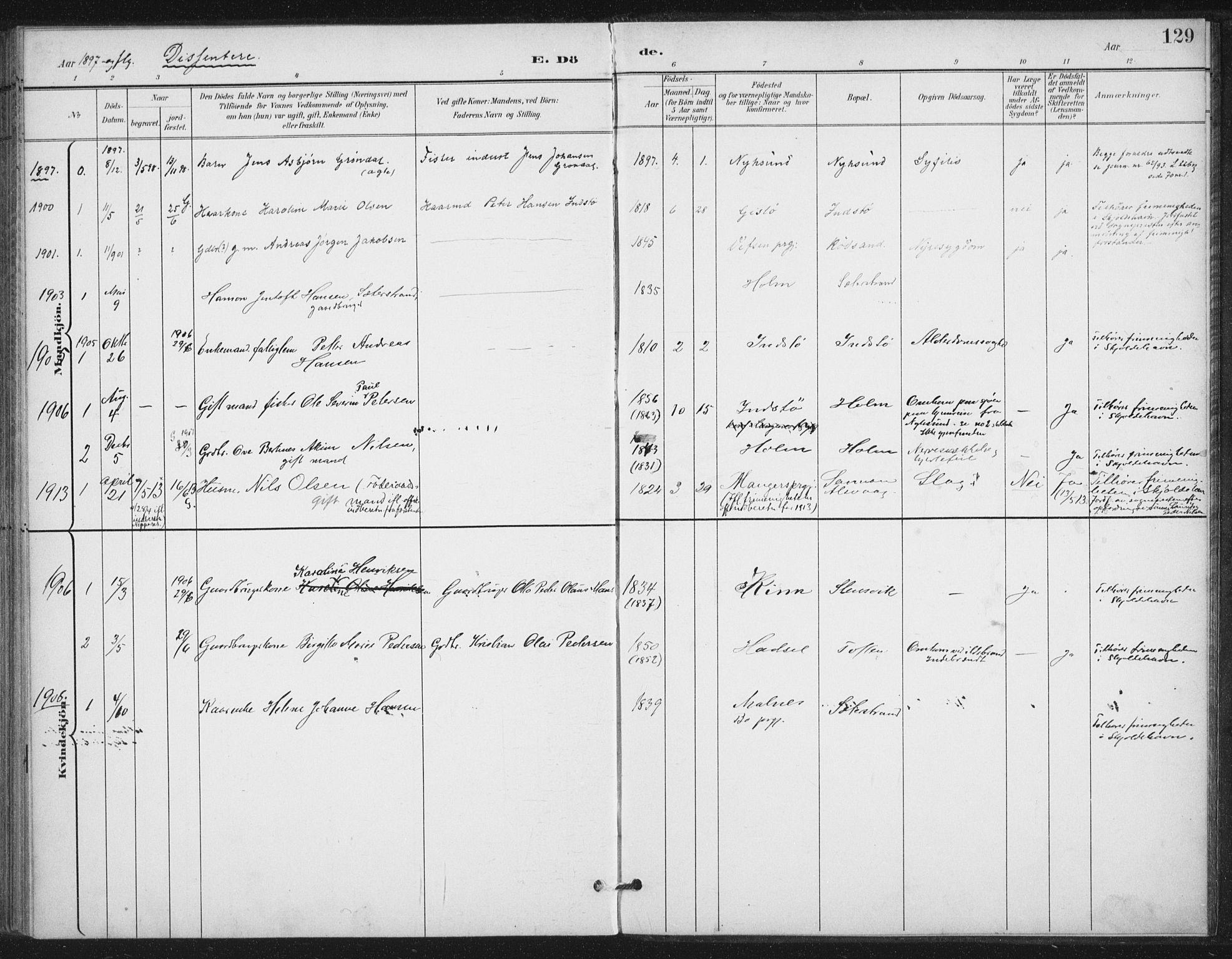 SAT, Ministerialprotokoller, klokkerbøker og fødselsregistre - Nordland, 894/L1356: Ministerialbok nr. 894A02, 1897-1914, s. 129
