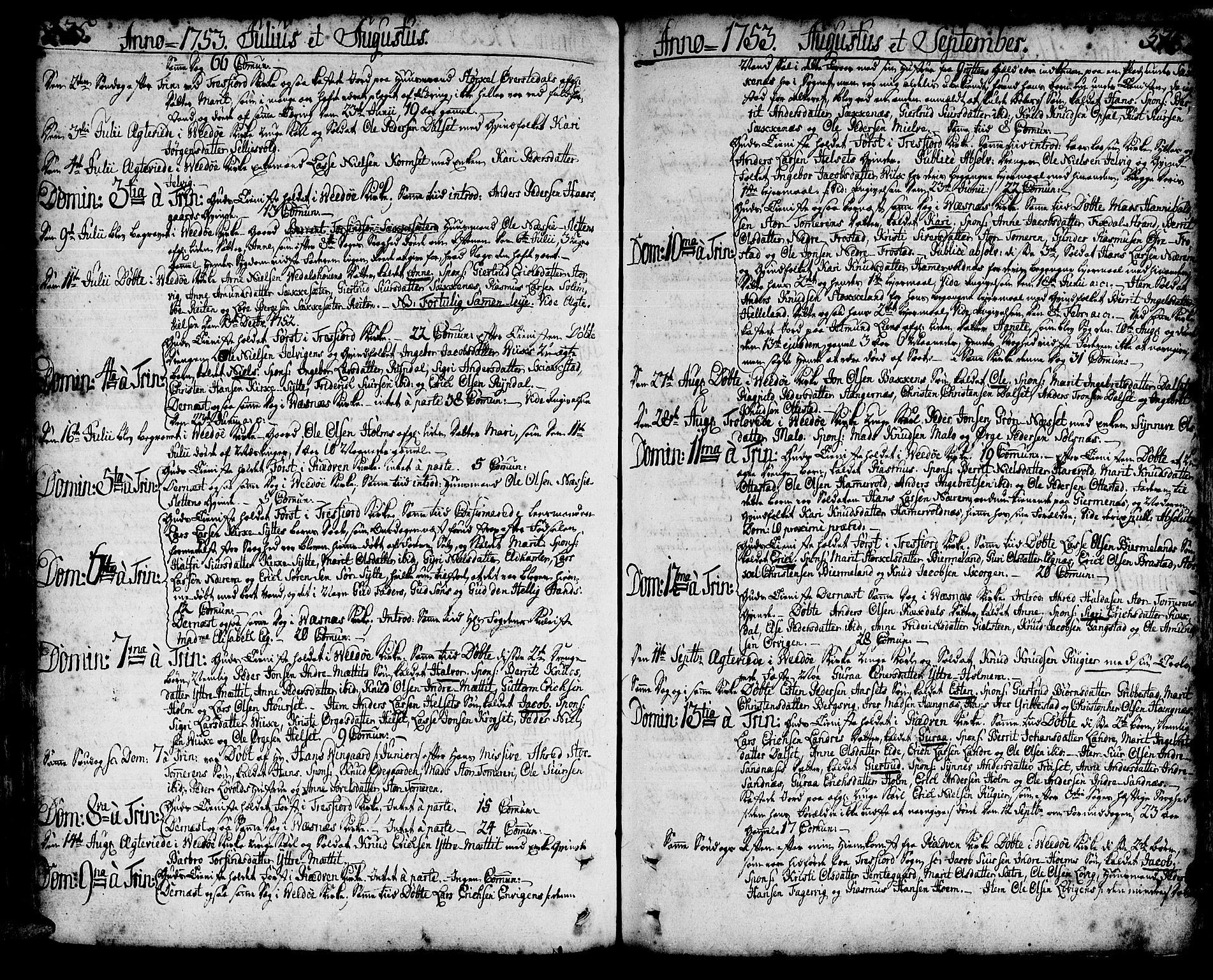 SAT, Ministerialprotokoller, klokkerbøker og fødselsregistre - Møre og Romsdal, 547/L0599: Ministerialbok nr. 547A01, 1721-1764, s. 375-376