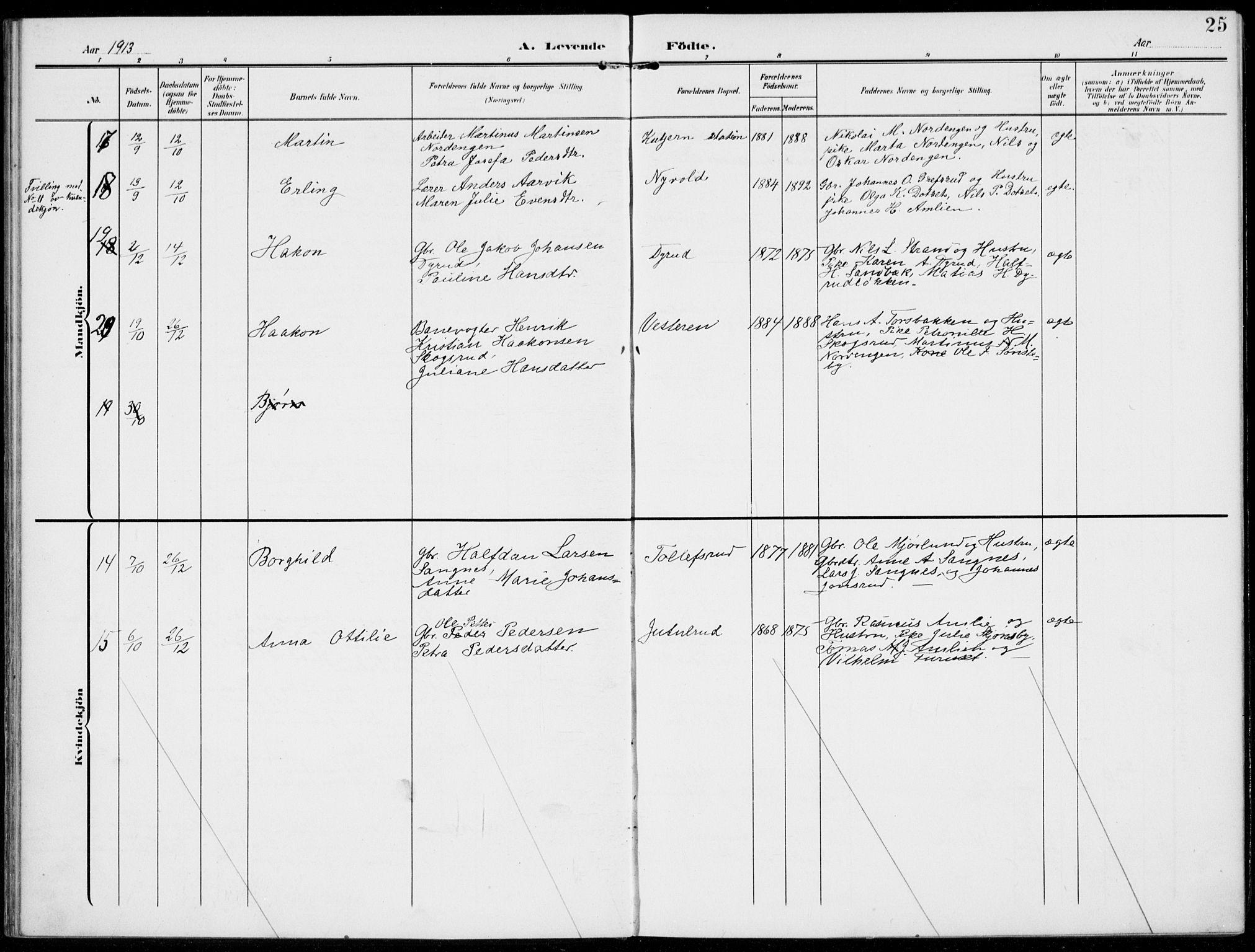 SAH, Kolbu prestekontor, Ministerialbok nr. 1, 1907-1923, s. 25