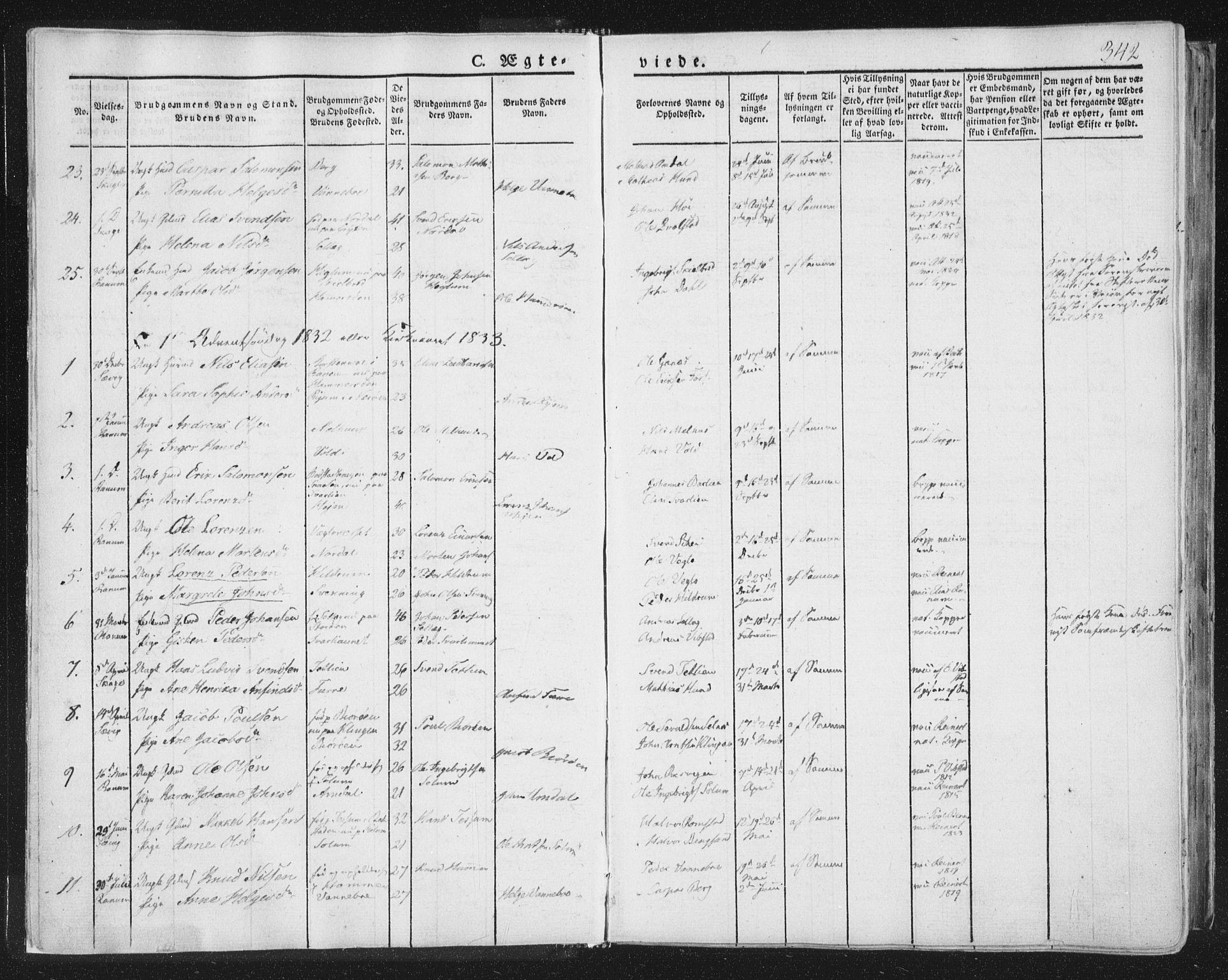 SAT, Ministerialprotokoller, klokkerbøker og fødselsregistre - Nord-Trøndelag, 764/L0552: Ministerialbok nr. 764A07b, 1824-1865, s. 342
