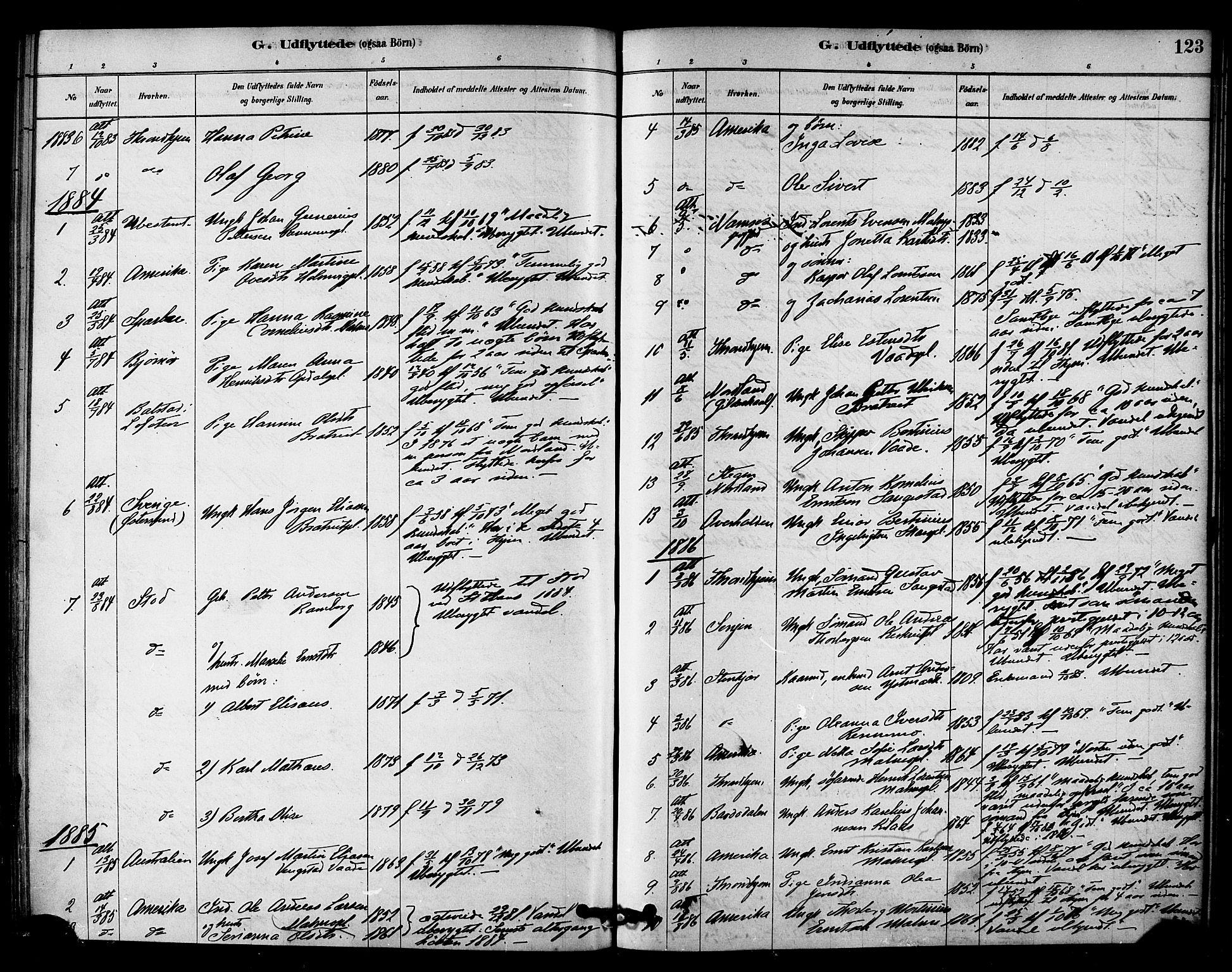 SAT, Ministerialprotokoller, klokkerbøker og fødselsregistre - Nord-Trøndelag, 745/L0429: Ministerialbok nr. 745A01, 1878-1894, s. 123
