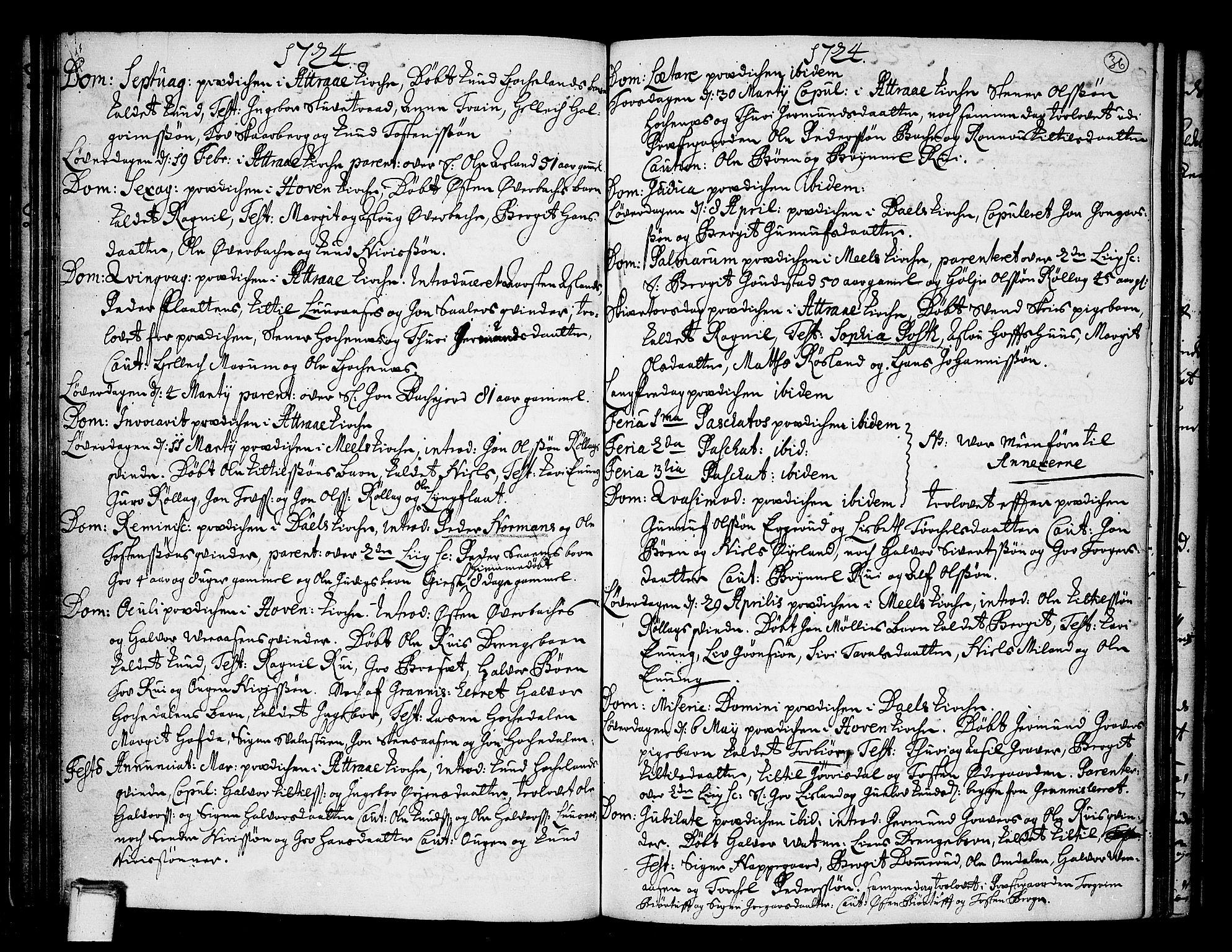 SAKO, Tinn kirkebøker, F/Fa/L0001: Ministerialbok nr. I 1, 1717-1734, s. 36