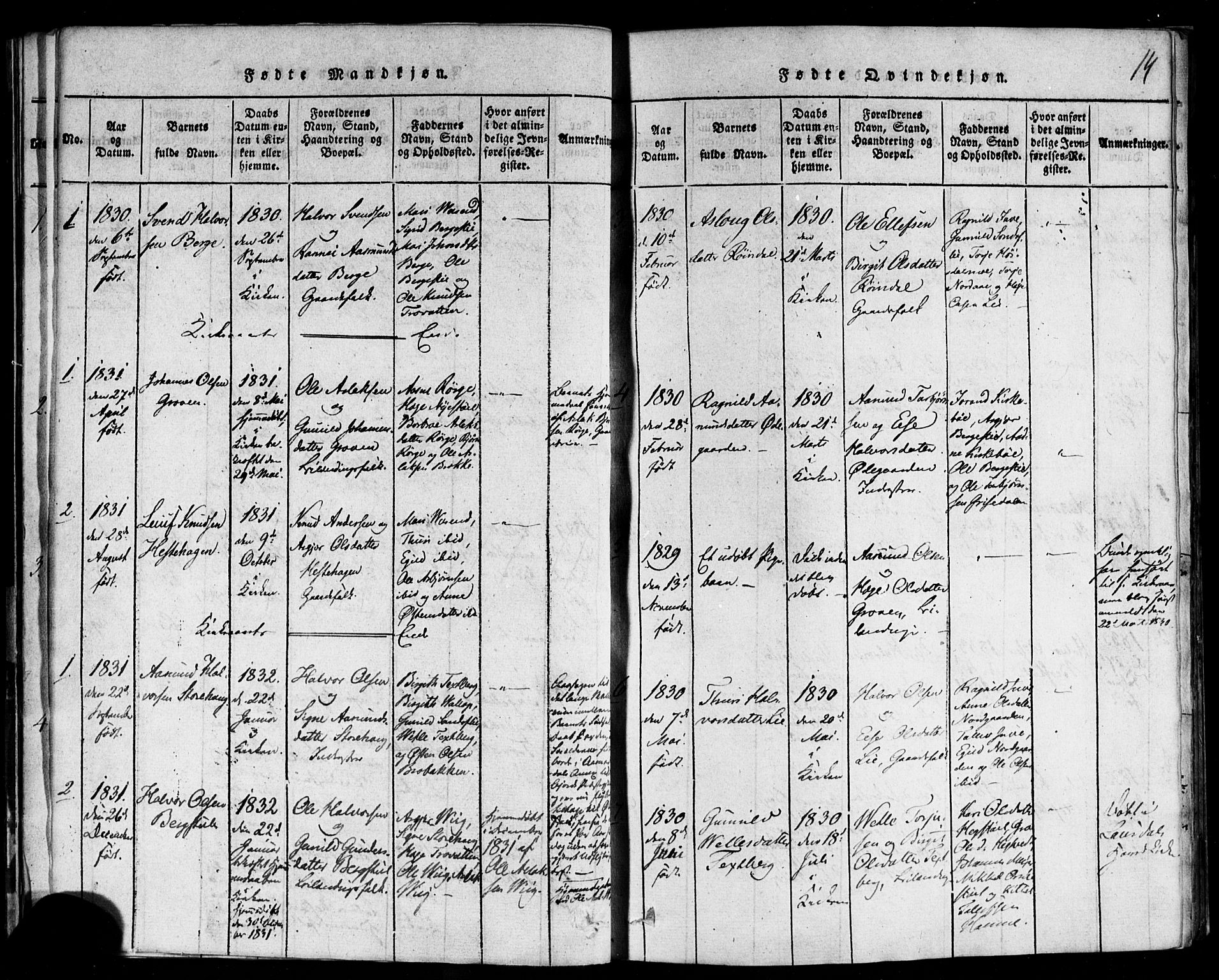 SAKO, Rauland kirkebøker, F/Fa/L0002: Ministerialbok nr. 2, 1815-1860, s. 14