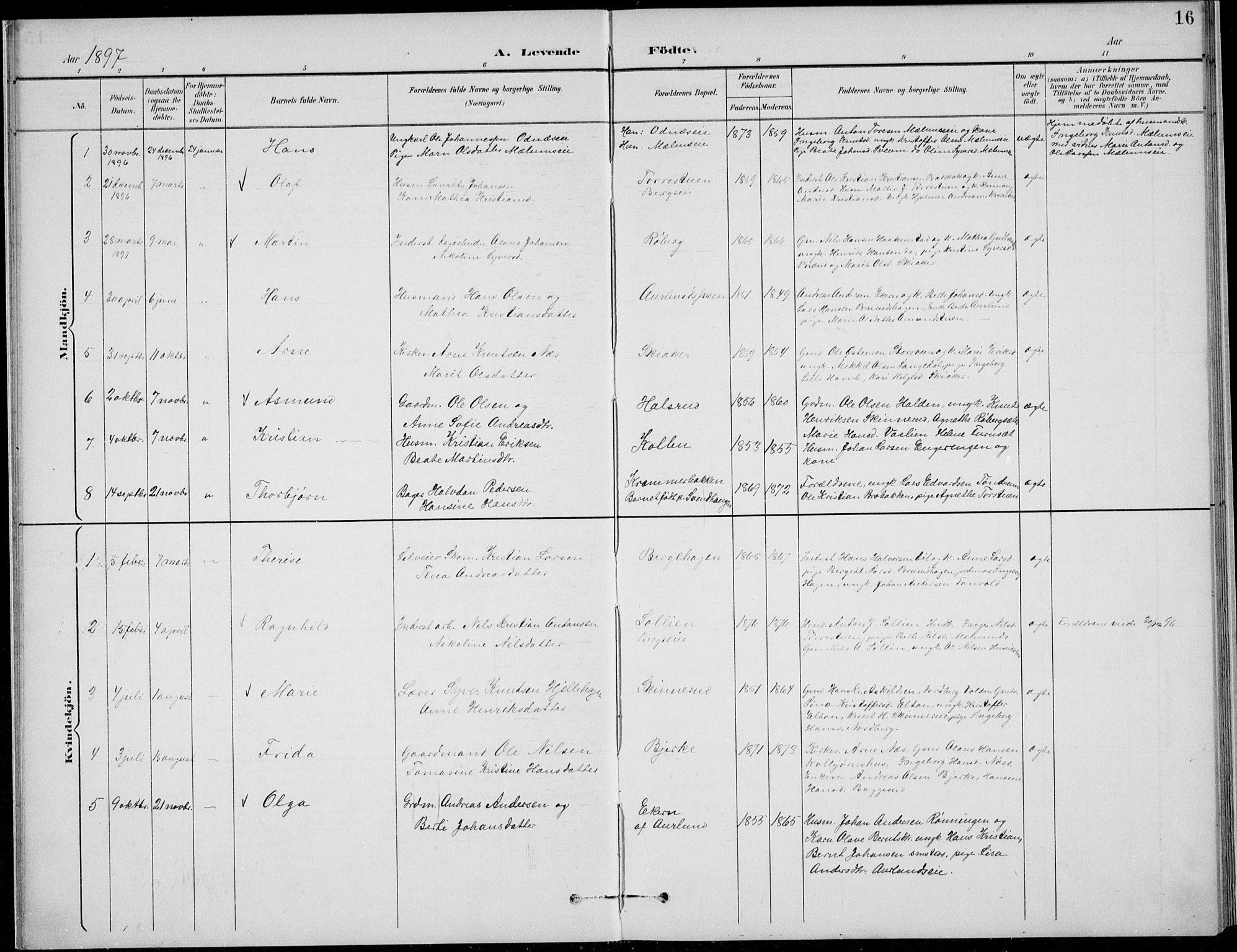 SAH, Nordre Land prestekontor, Klokkerbok nr. 14, 1891-1907, s. 16