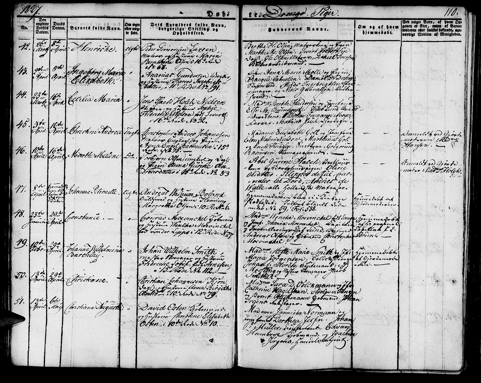 SAB, Domkirken sokneprestembete, H/Haa/L0012: Ministerialbok nr. A 12, 1821-1840, s. 110