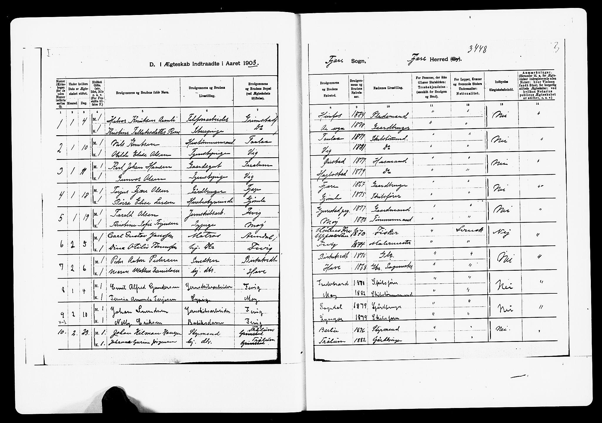 SAK, Fjære sokneprestkontor, F/Fa/L0003: Ministerialbok nr. A 3.1, 1903-1920, s. 1