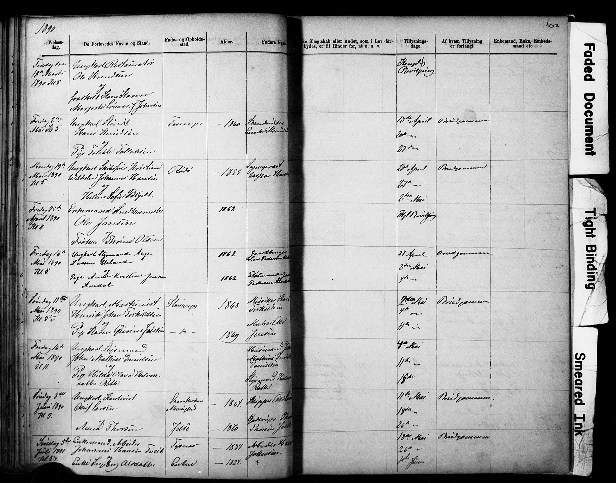 SAST, Domkirken sokneprestkontor, 30/30BB/L0014: Klokkerbok nr. B 14, 1875-1902, s. 102