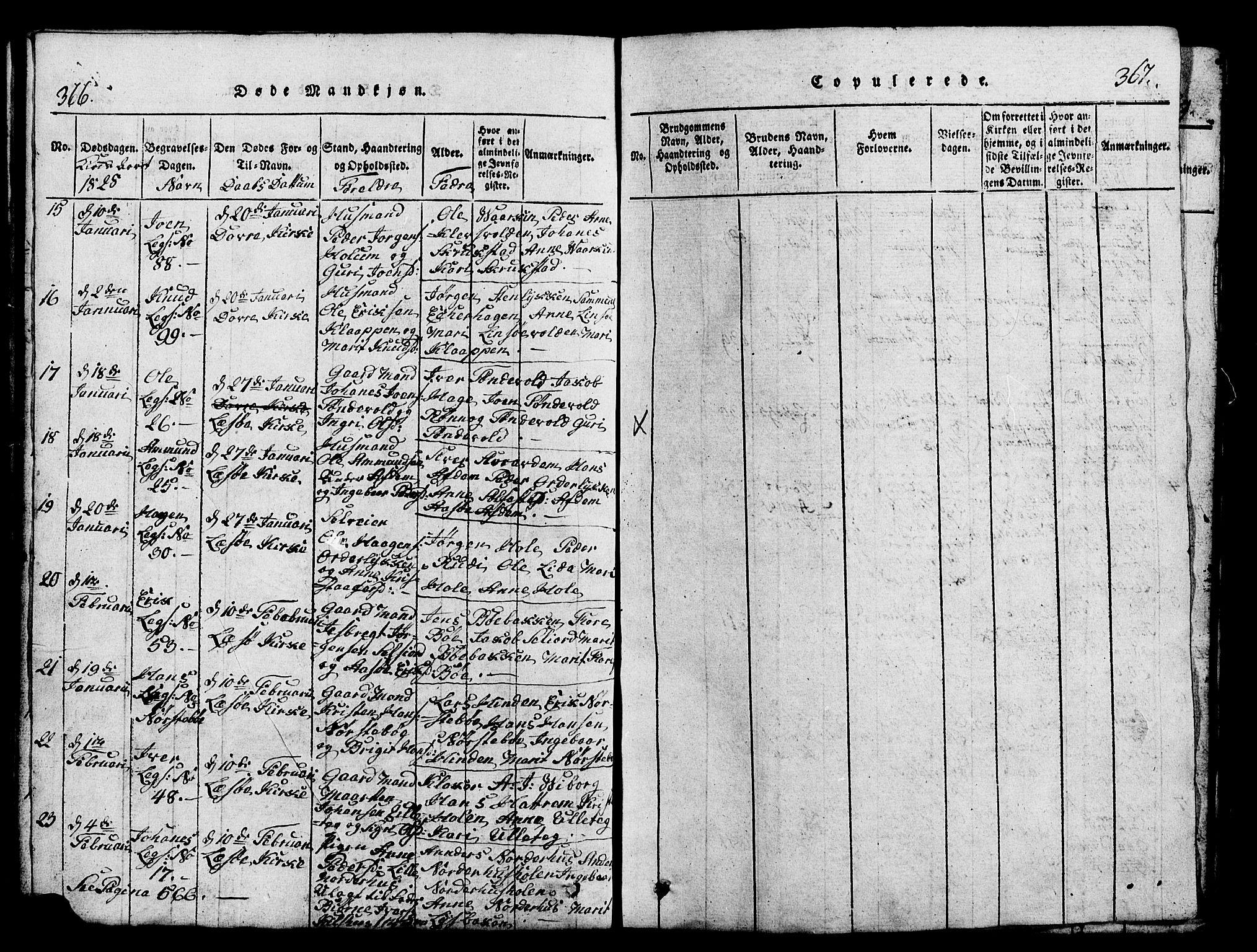 SAH, Lesja prestekontor, Klokkerbok nr. 1, 1820-1831, s. 366-367