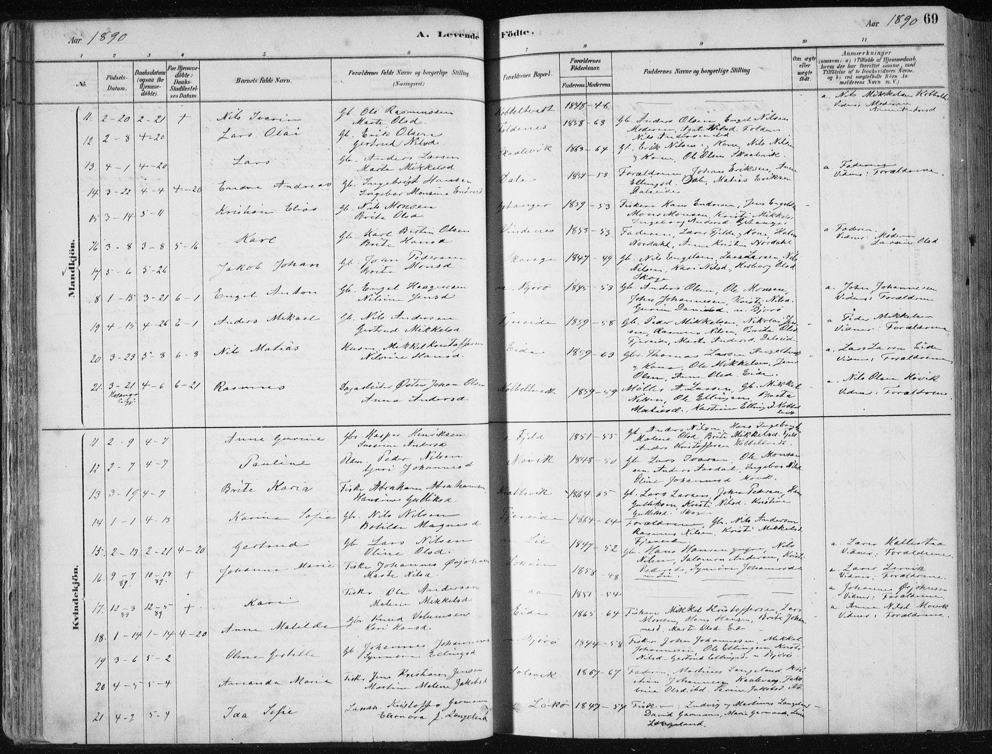 SAB, Fjell Sokneprestembete, H/Haa: Ministerialbok nr. A  8, 1878-1898, s. 69