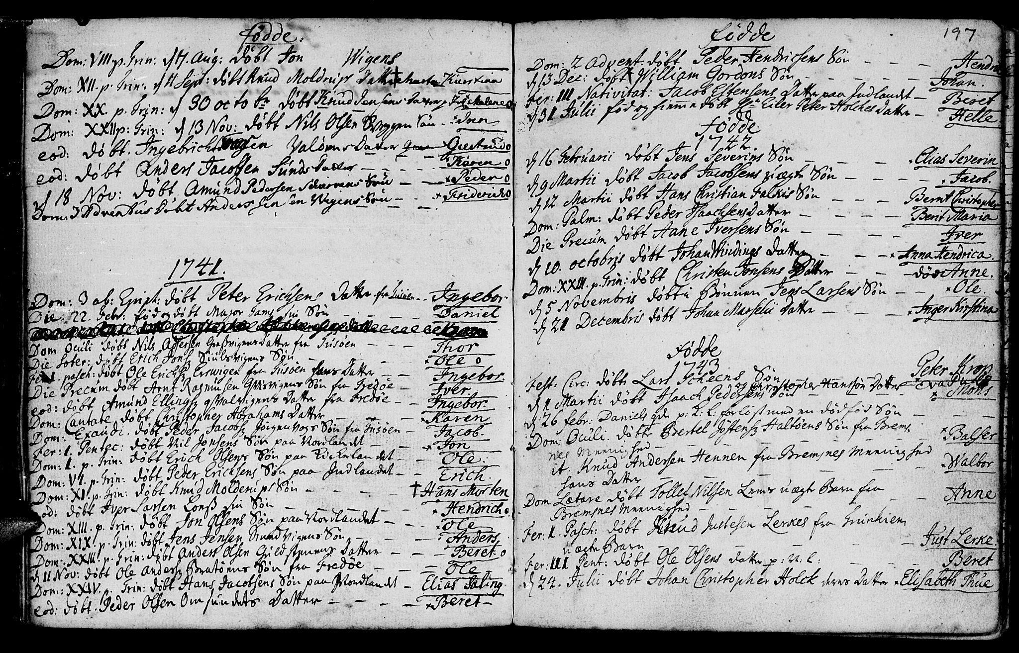SAT, Ministerialprotokoller, klokkerbøker og fødselsregistre - Møre og Romsdal, 572/L0839: Ministerialbok nr. 572A02, 1739-1754, s. 196-197