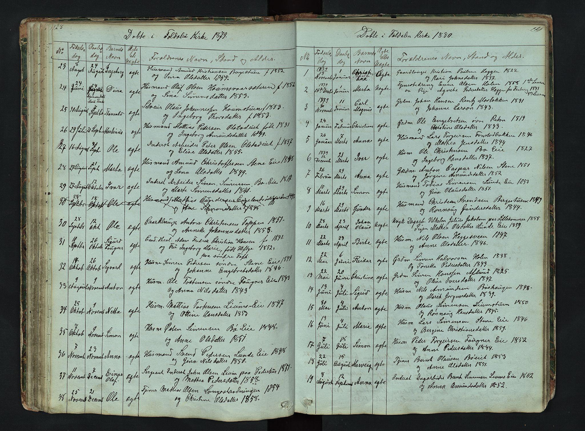 SAH, Gausdal prestekontor, Klokkerbok nr. 6, 1846-1893, s. 128-129