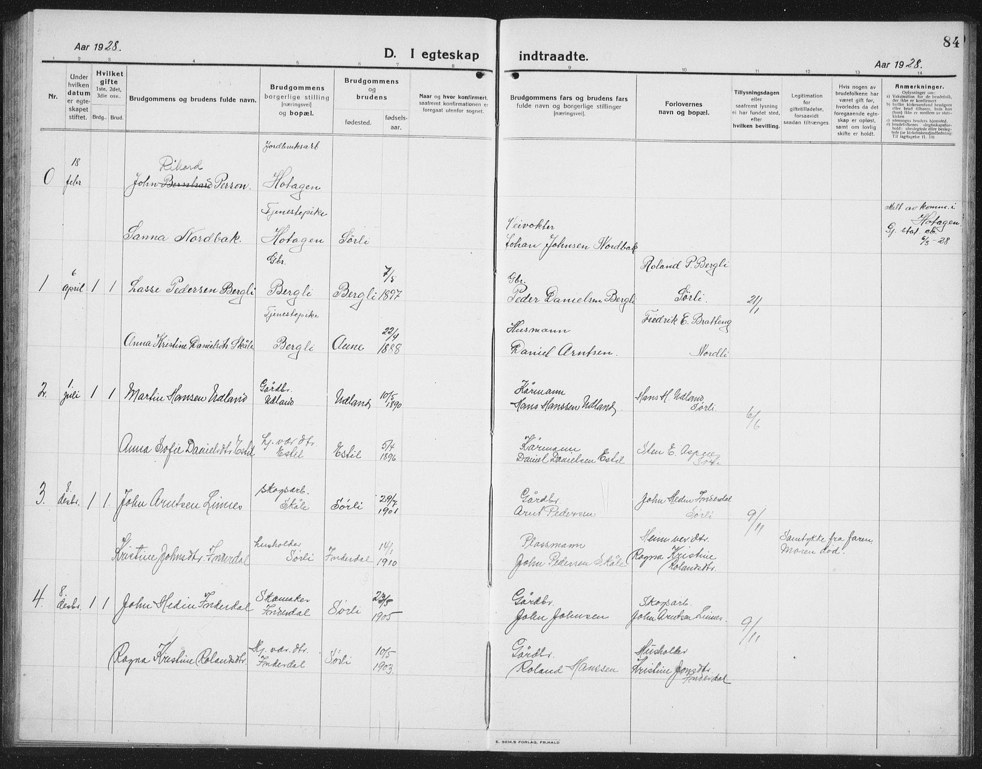 SAT, Ministerialprotokoller, klokkerbøker og fødselsregistre - Nord-Trøndelag, 757/L0507: Klokkerbok nr. 757C02, 1923-1939, s. 84