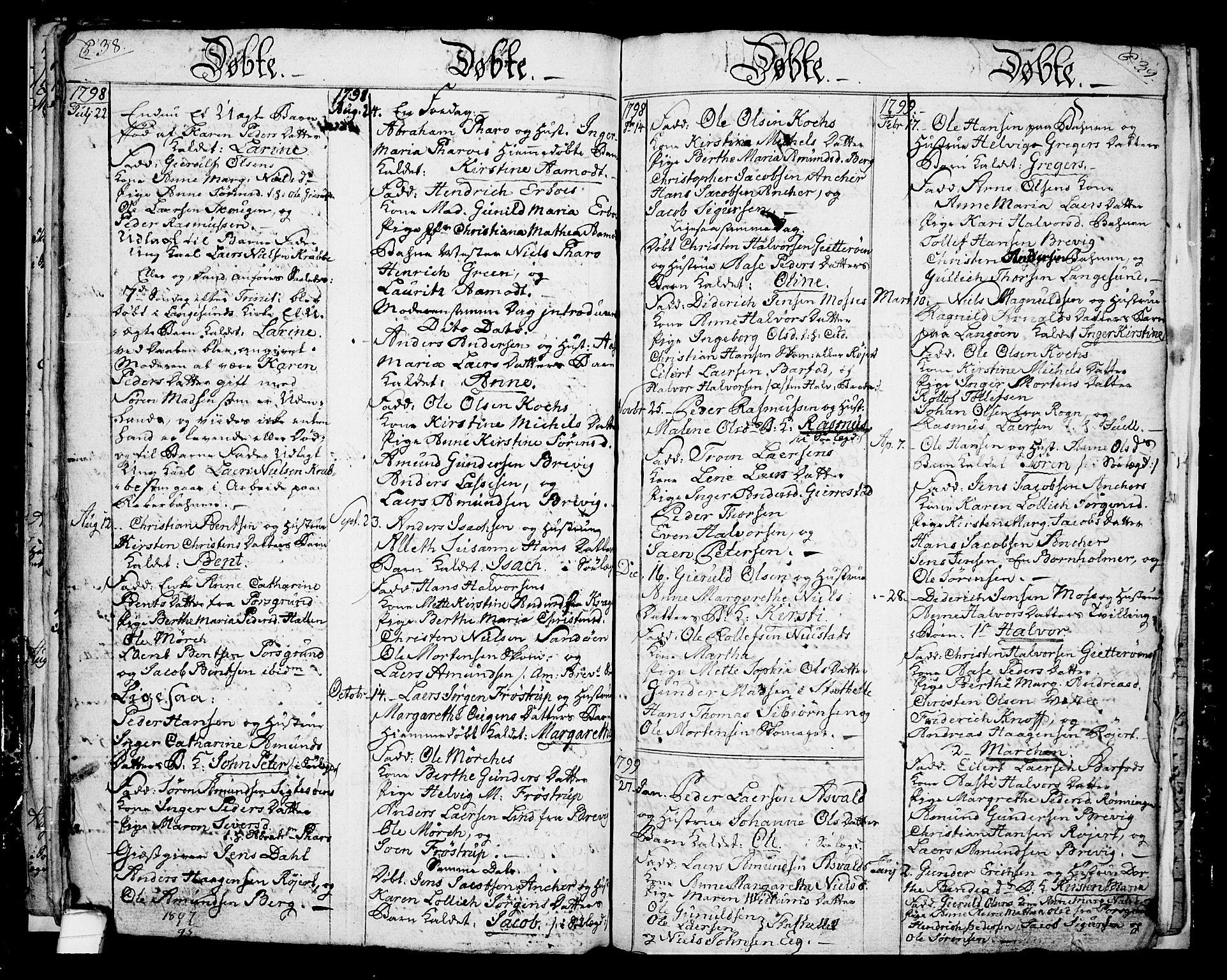 SAKO, Langesund kirkebøker, G/Ga/L0001: Klokkerbok nr. 1, 1783-1801, s. 38-39