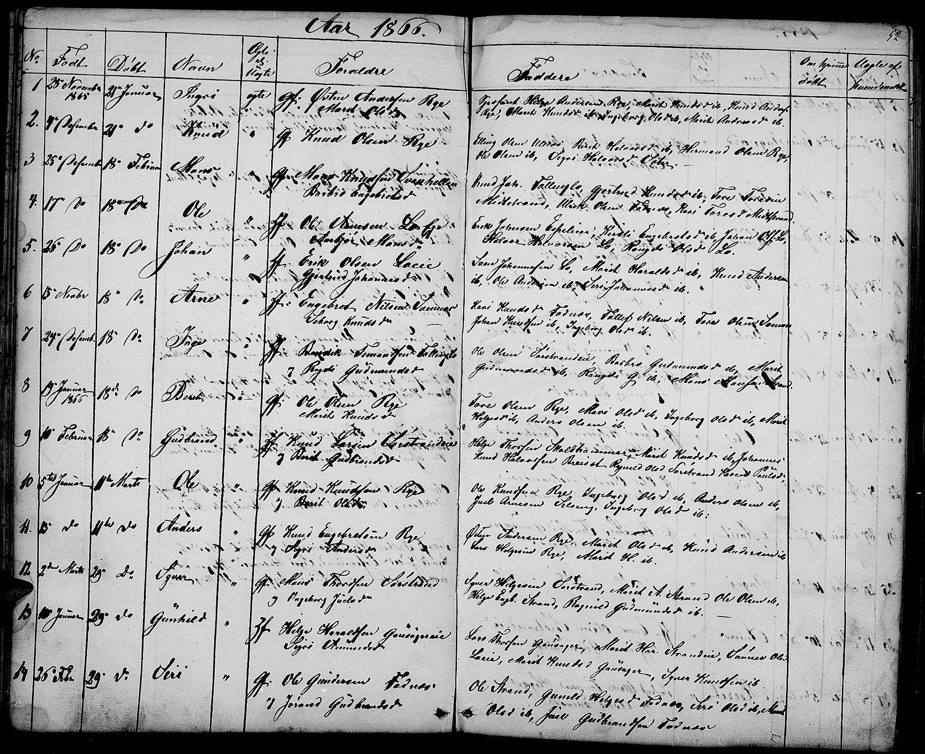 SAH, Nord-Aurdal prestekontor, Klokkerbok nr. 3, 1842-1882, s. 52