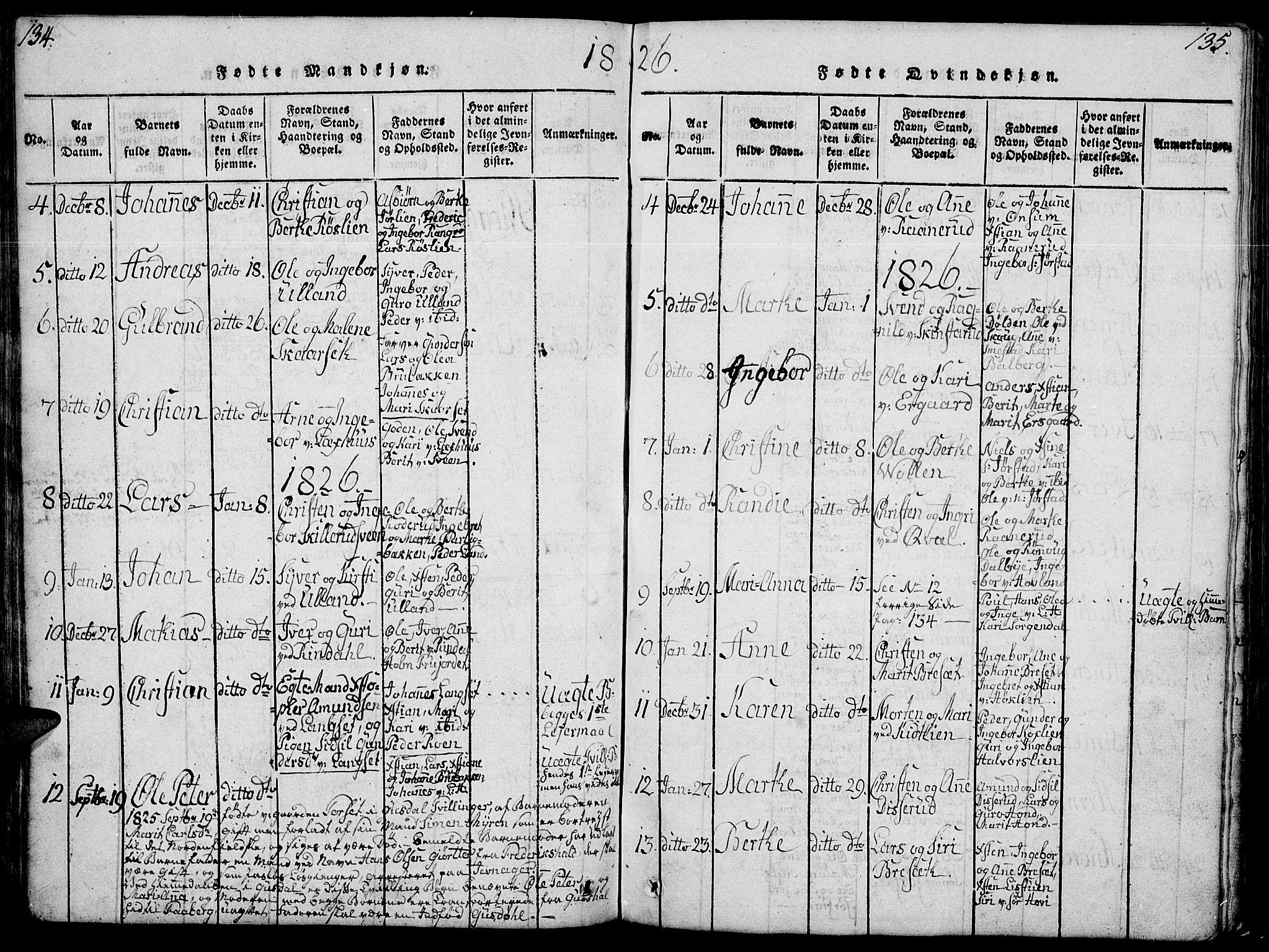 SAH, Fåberg prestekontor, Klokkerbok nr. 4, 1818-1837, s. 134-135
