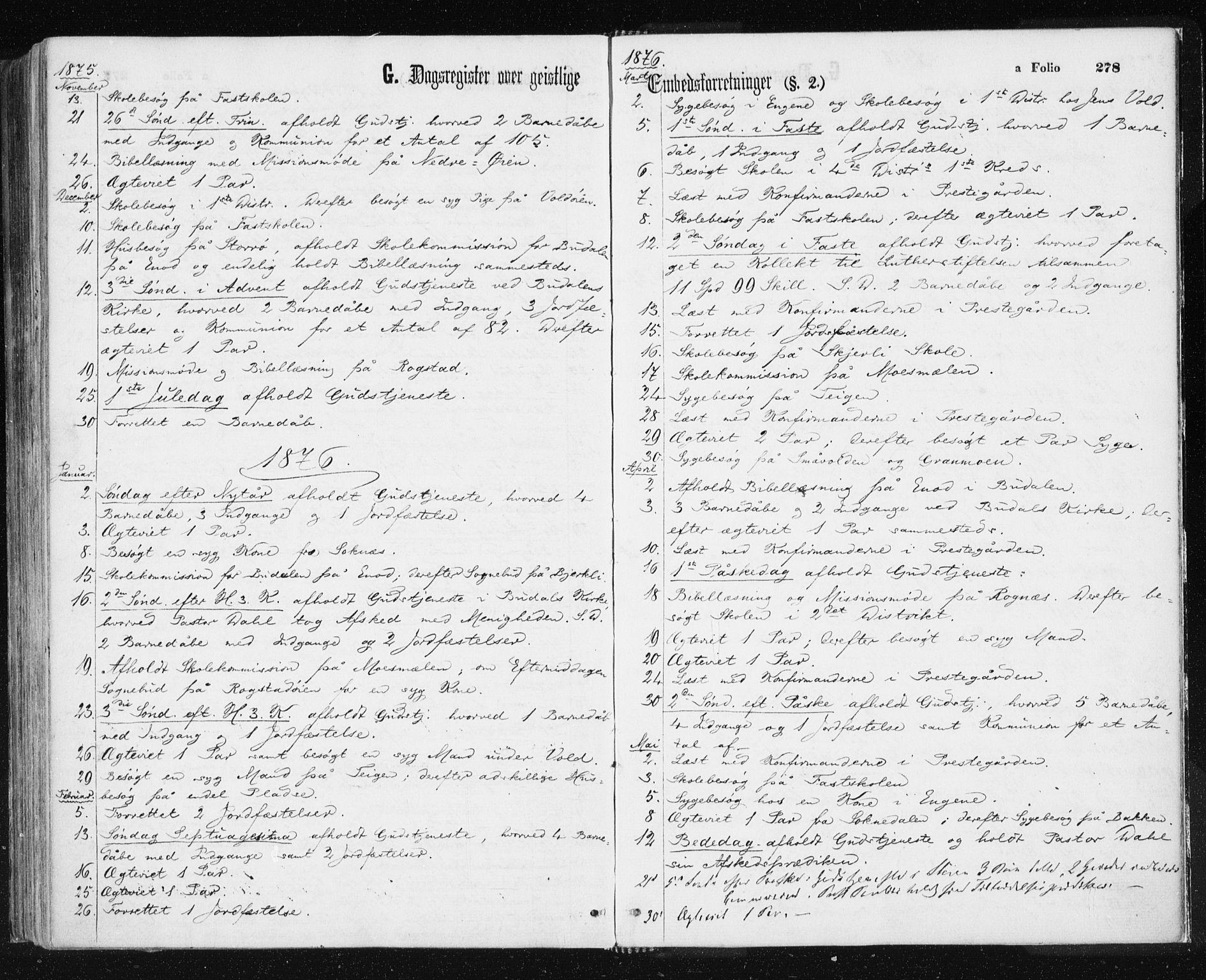 SAT, Ministerialprotokoller, klokkerbøker og fødselsregistre - Sør-Trøndelag, 687/L1001: Ministerialbok nr. 687A07, 1863-1878, s. 278