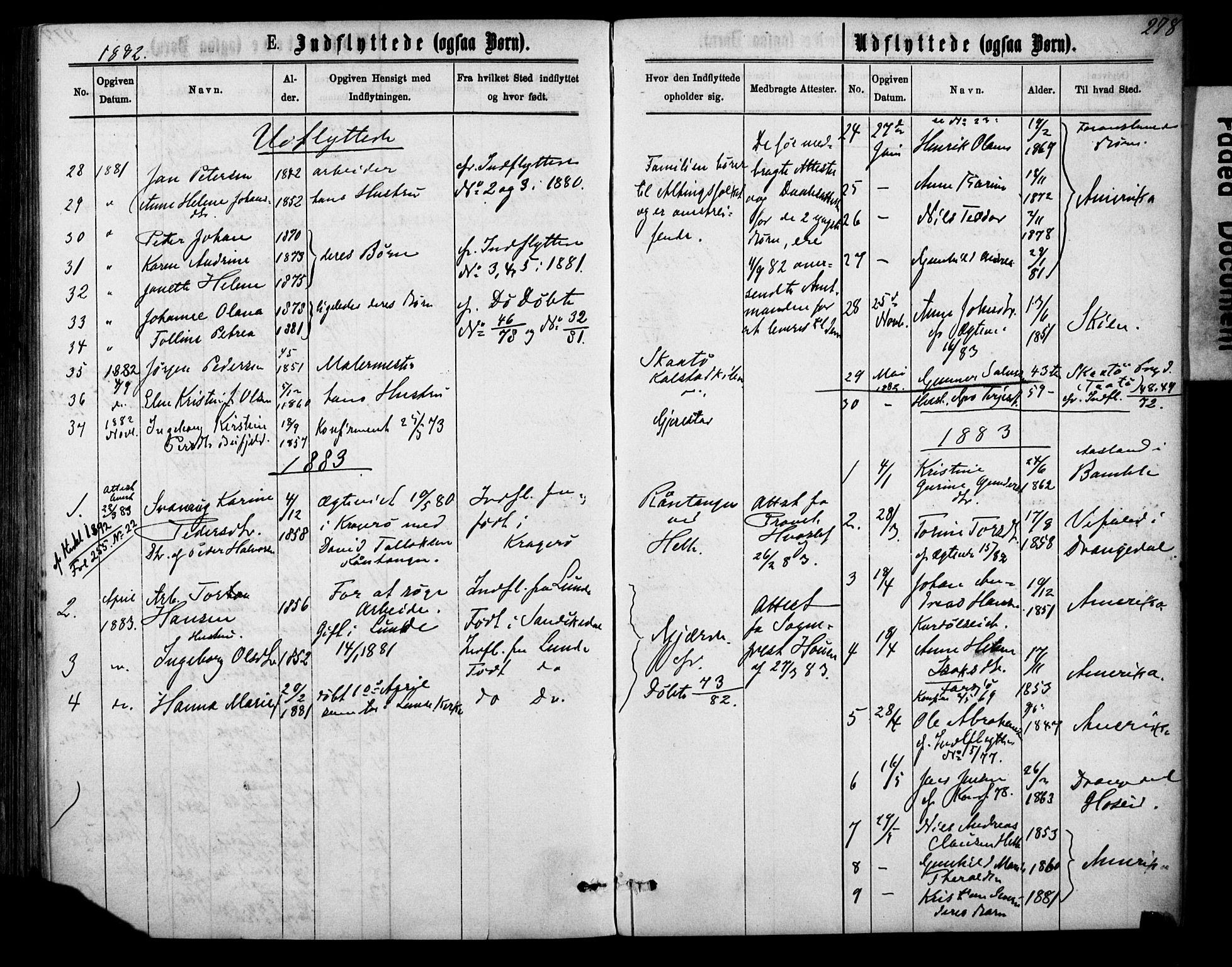 SAKO, Sannidal kirkebøker, F/Fa/L0014: Ministerialbok nr. 14, 1874-1883, s. 278