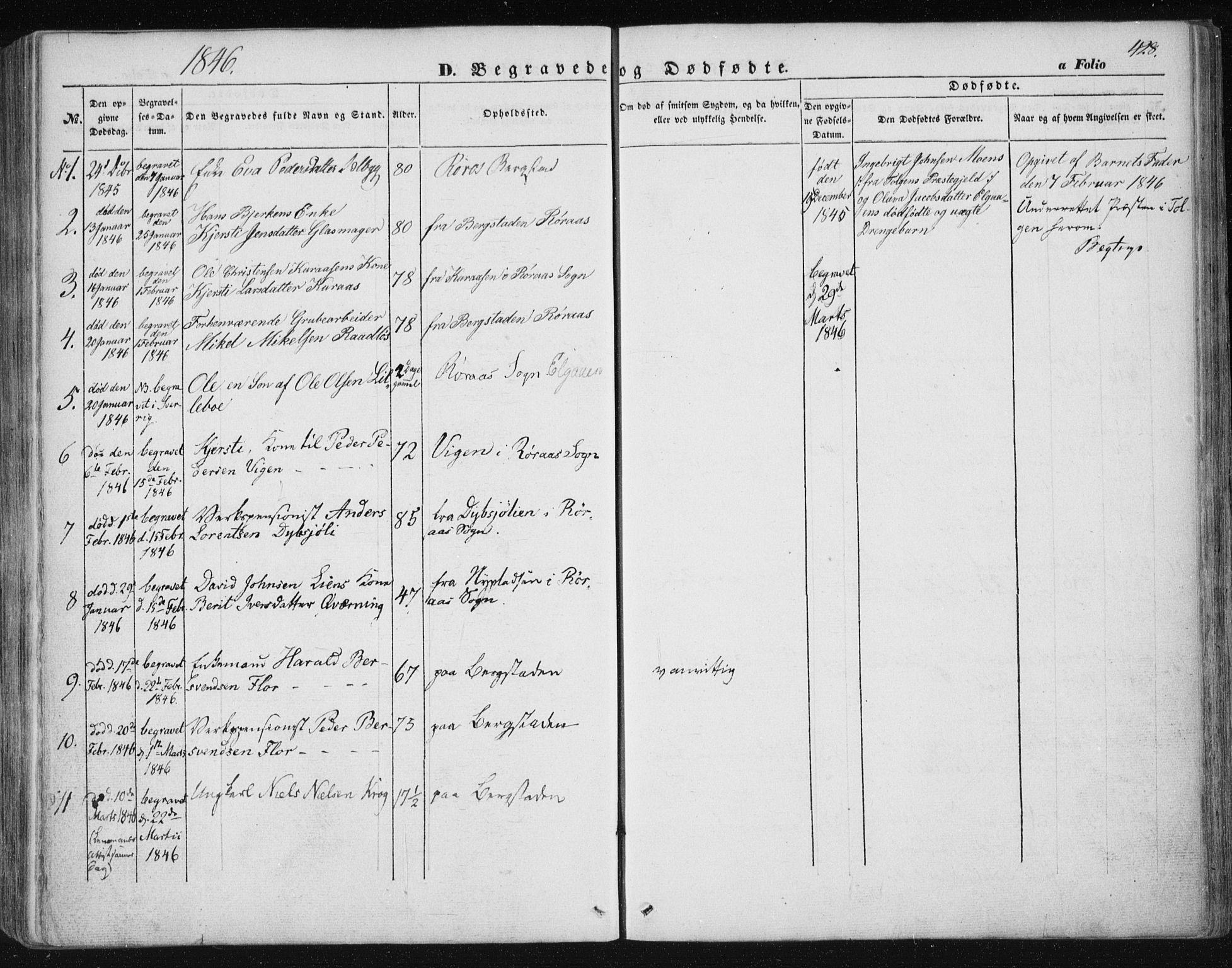 SAT, Ministerialprotokoller, klokkerbøker og fødselsregistre - Sør-Trøndelag, 681/L0931: Ministerialbok nr. 681A09, 1845-1859, s. 428