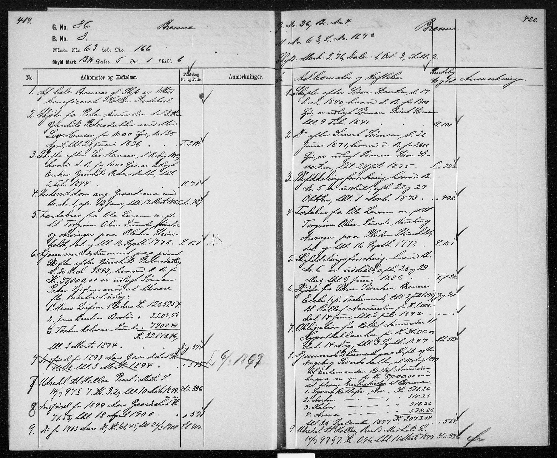 SAKO, Gjerpen sorenskriveri, G/Gb/Gbb/L0004: Panteregister nr. II 4, s. 419-420