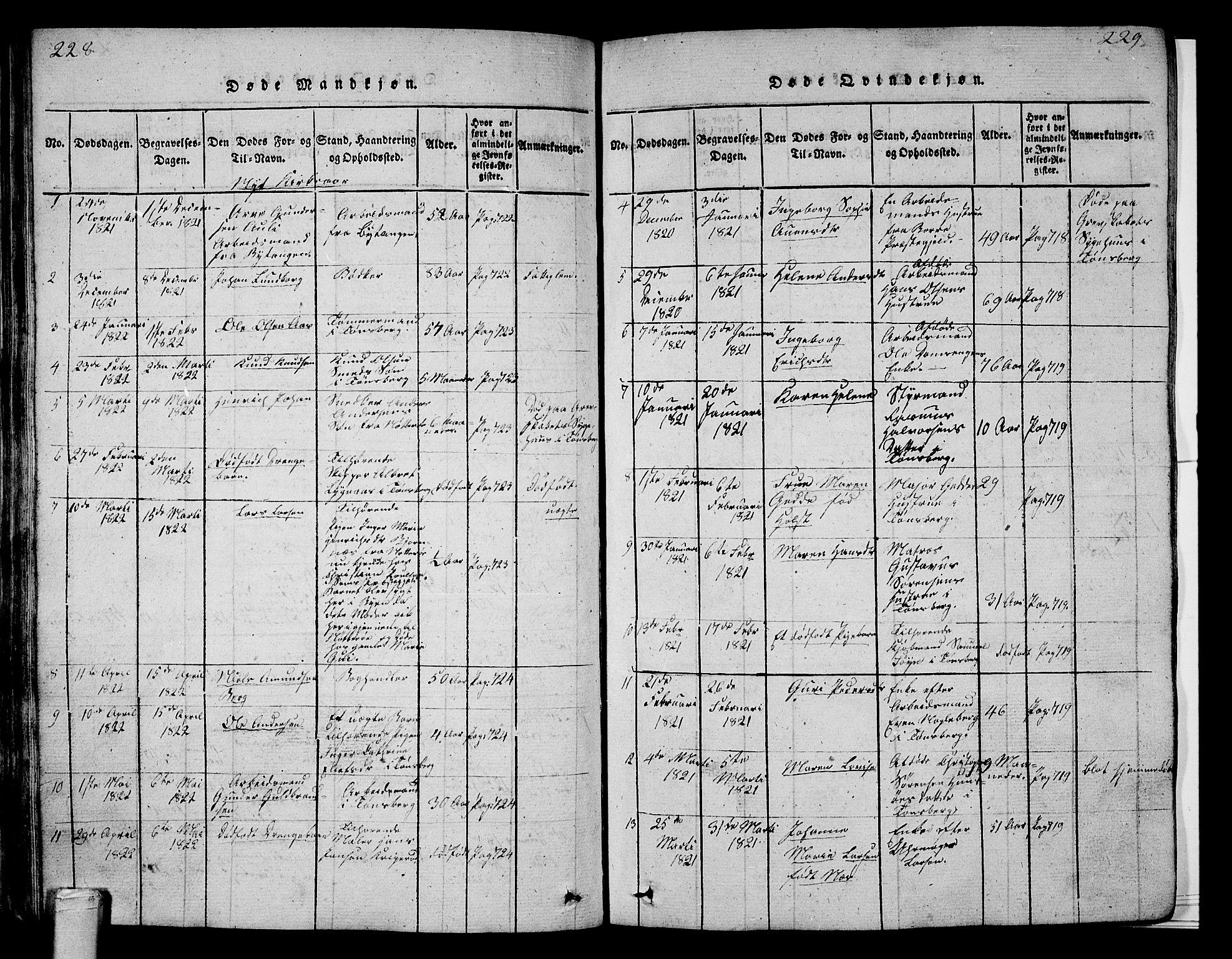 SAKO, Tønsberg kirkebøker, G/Ga/L0001: Klokkerbok nr. 1, 1813-1826, s. 228-229