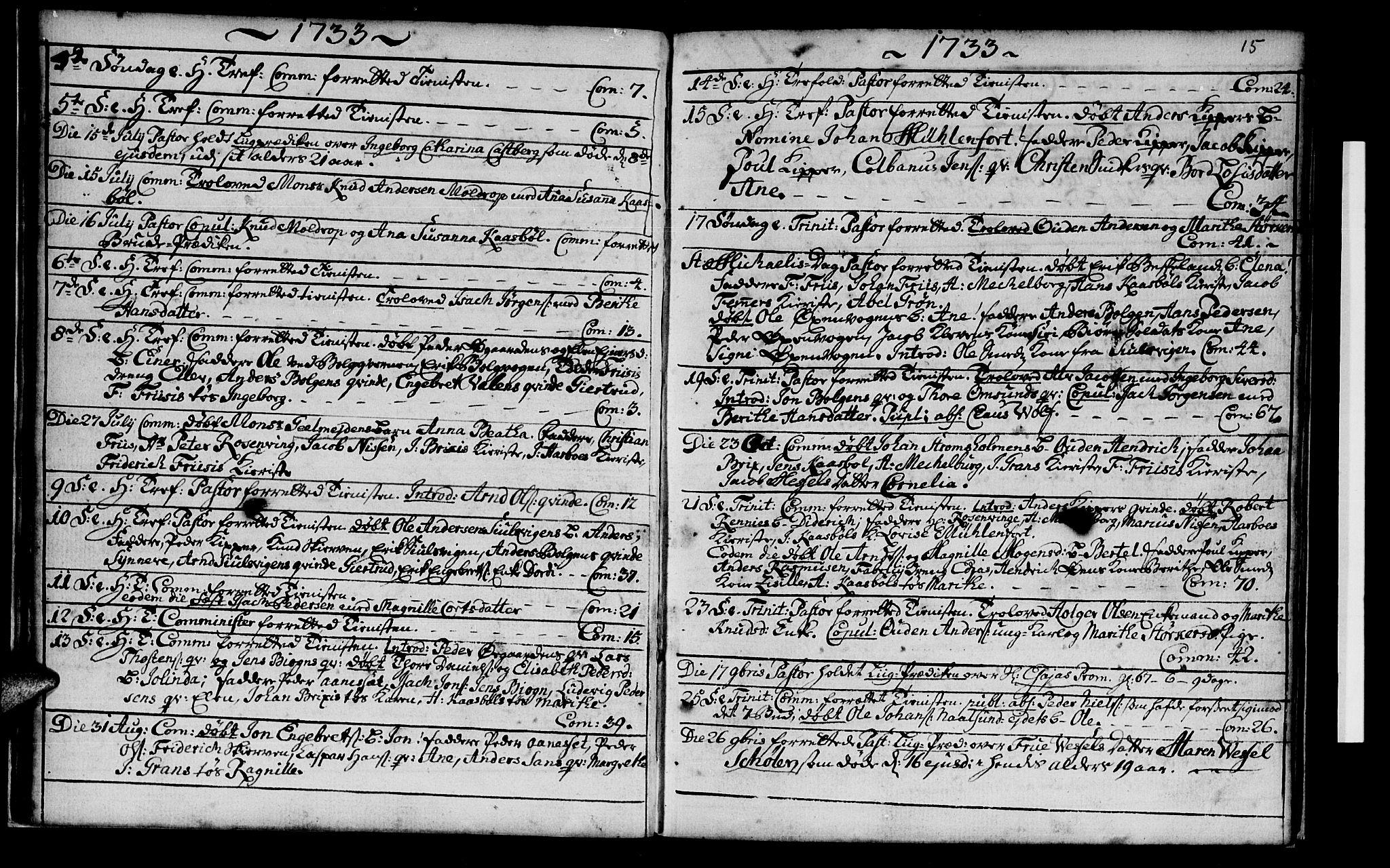 SAT, Ministerialprotokoller, klokkerbøker og fødselsregistre - Møre og Romsdal, 572/L0838: Ministerialbok nr. 572A01, 1731-1737, s. 14-15