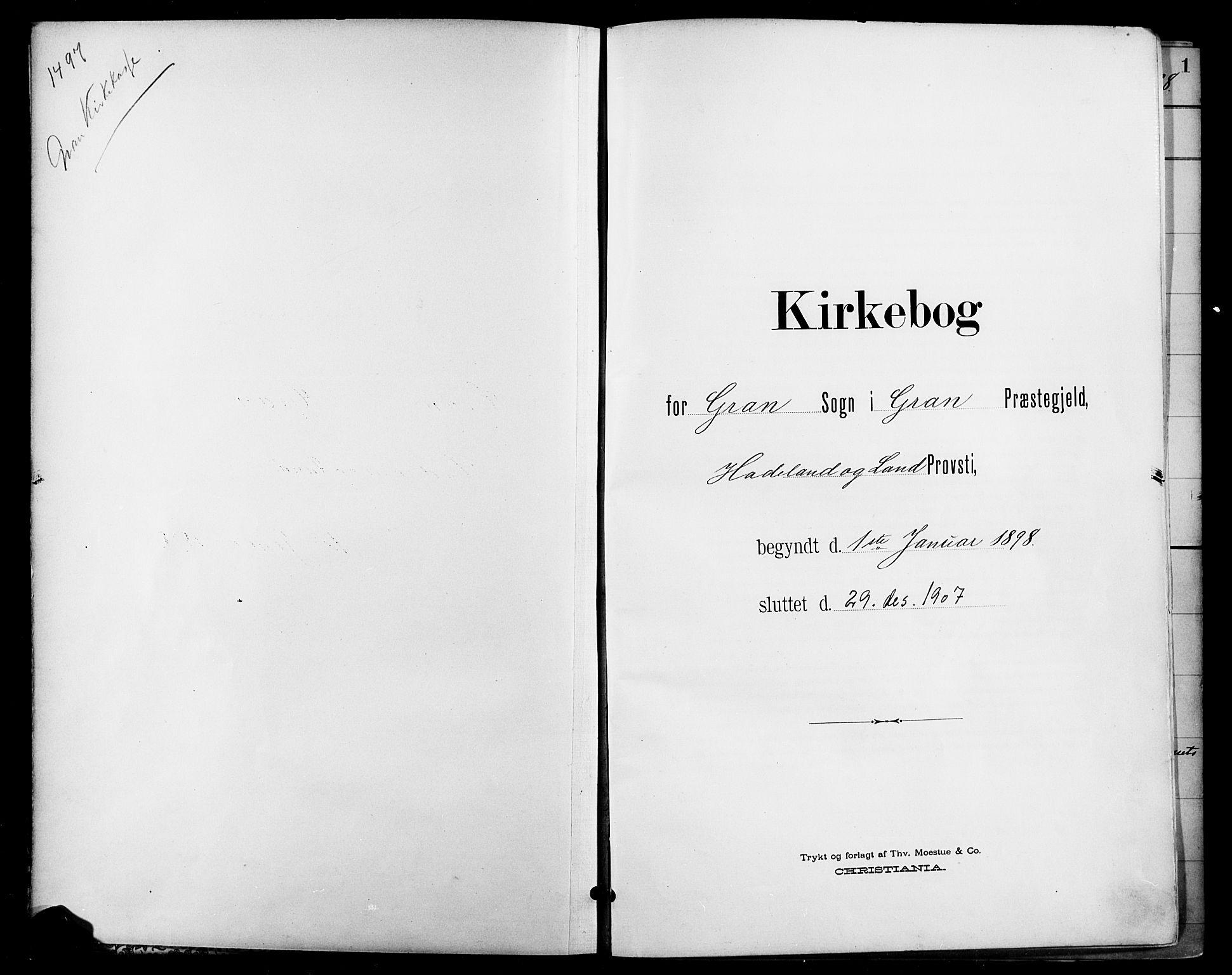 SAH, Gran prestekontor, Ministerialbok nr. 19, 1898-1907