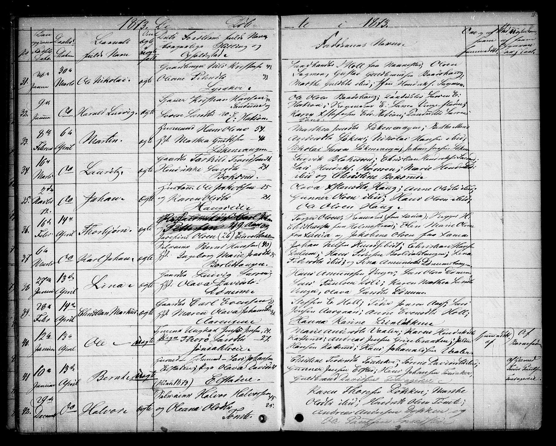 SAO, Eidsvoll prestekontor Kirkebøker, G/Ga/L0003: Klokkerbok nr. I 3, 1871-1877, s. 21