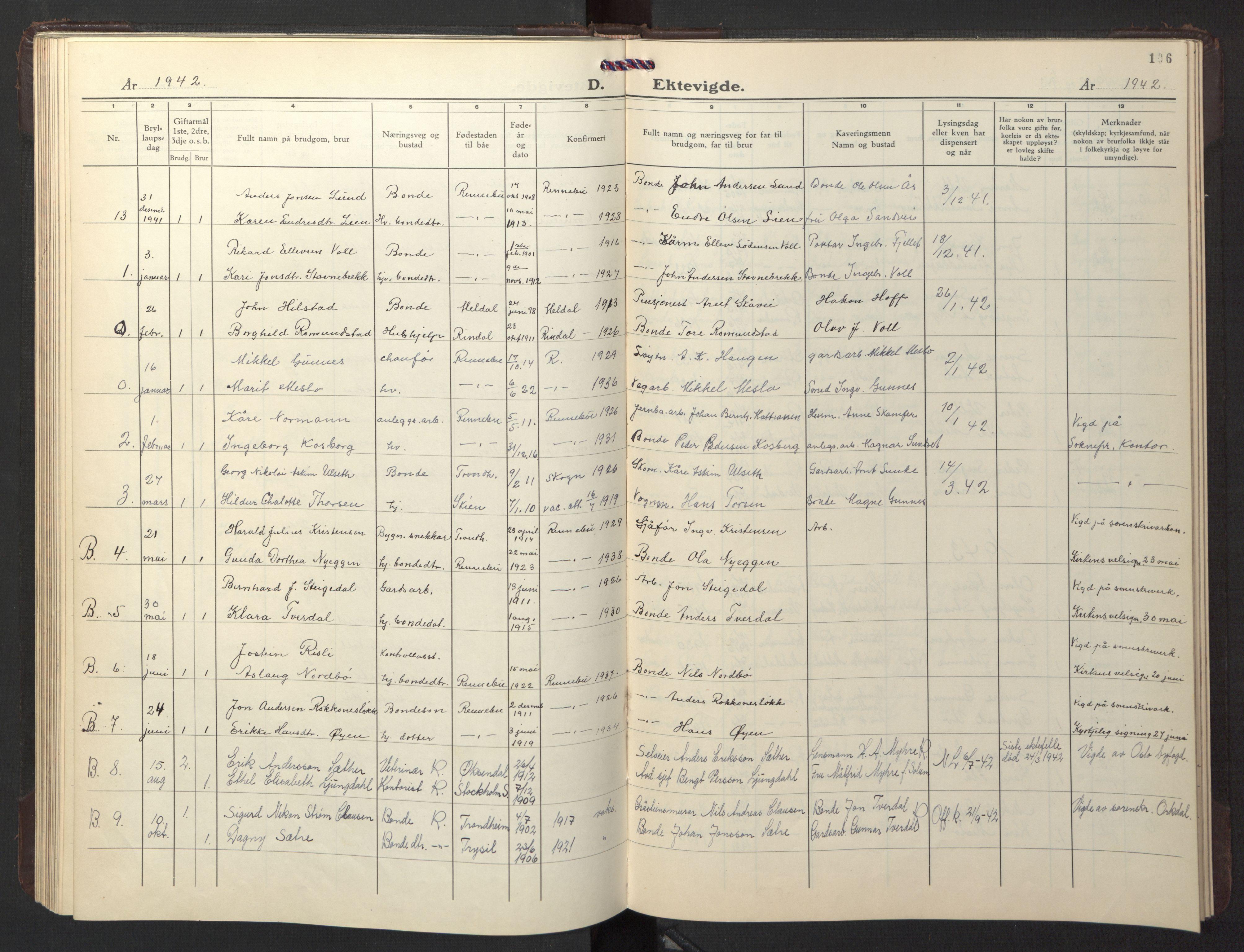 SAT, Ministerialprotokoller, klokkerbøker og fødselsregistre - Sør-Trøndelag, 674/L0878: Klokkerbok nr. 674C05, 1941-1950, s. 106