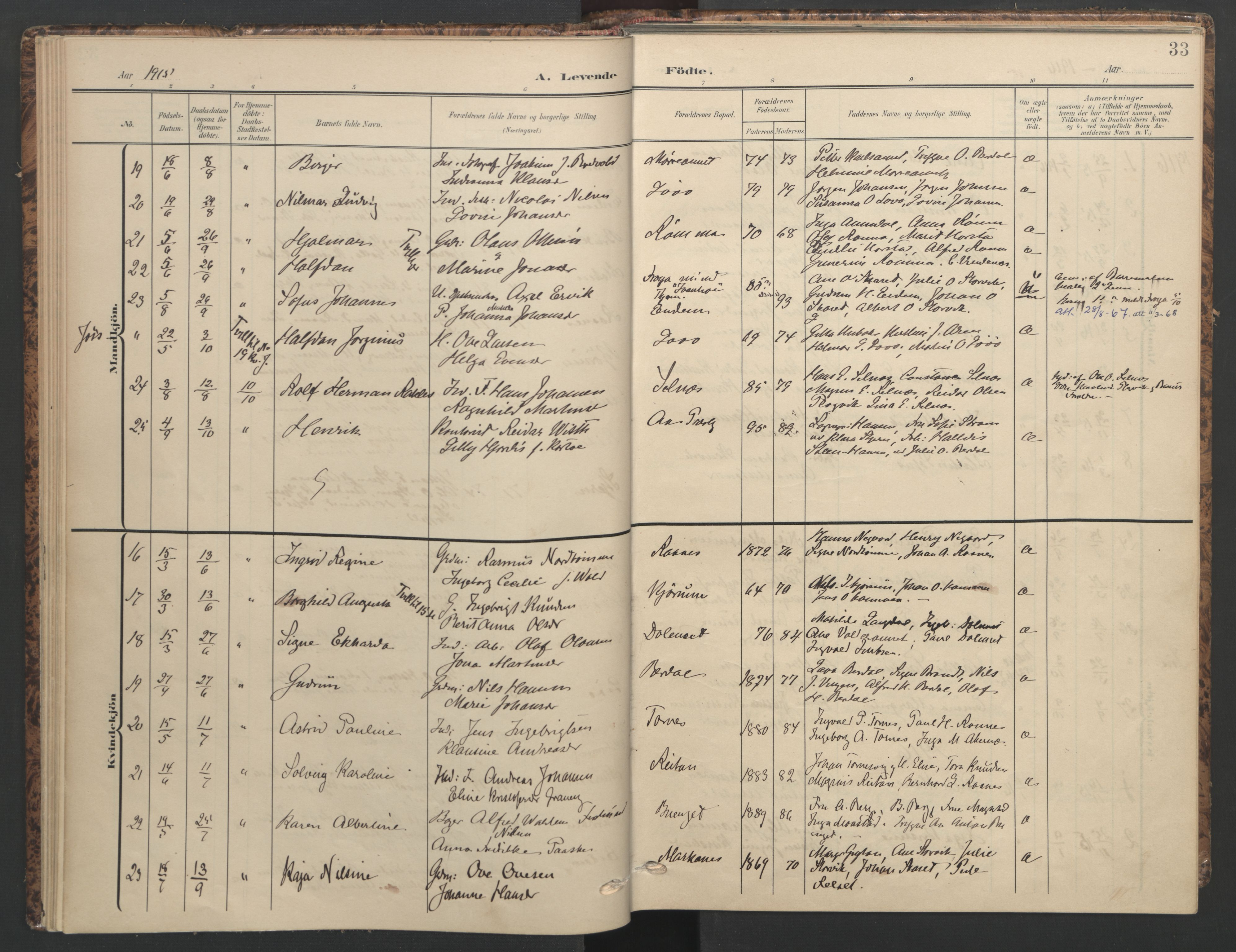 SAT, Ministerialprotokoller, klokkerbøker og fødselsregistre - Sør-Trøndelag, 655/L0682: Ministerialbok nr. 655A11, 1908-1922, s. 33