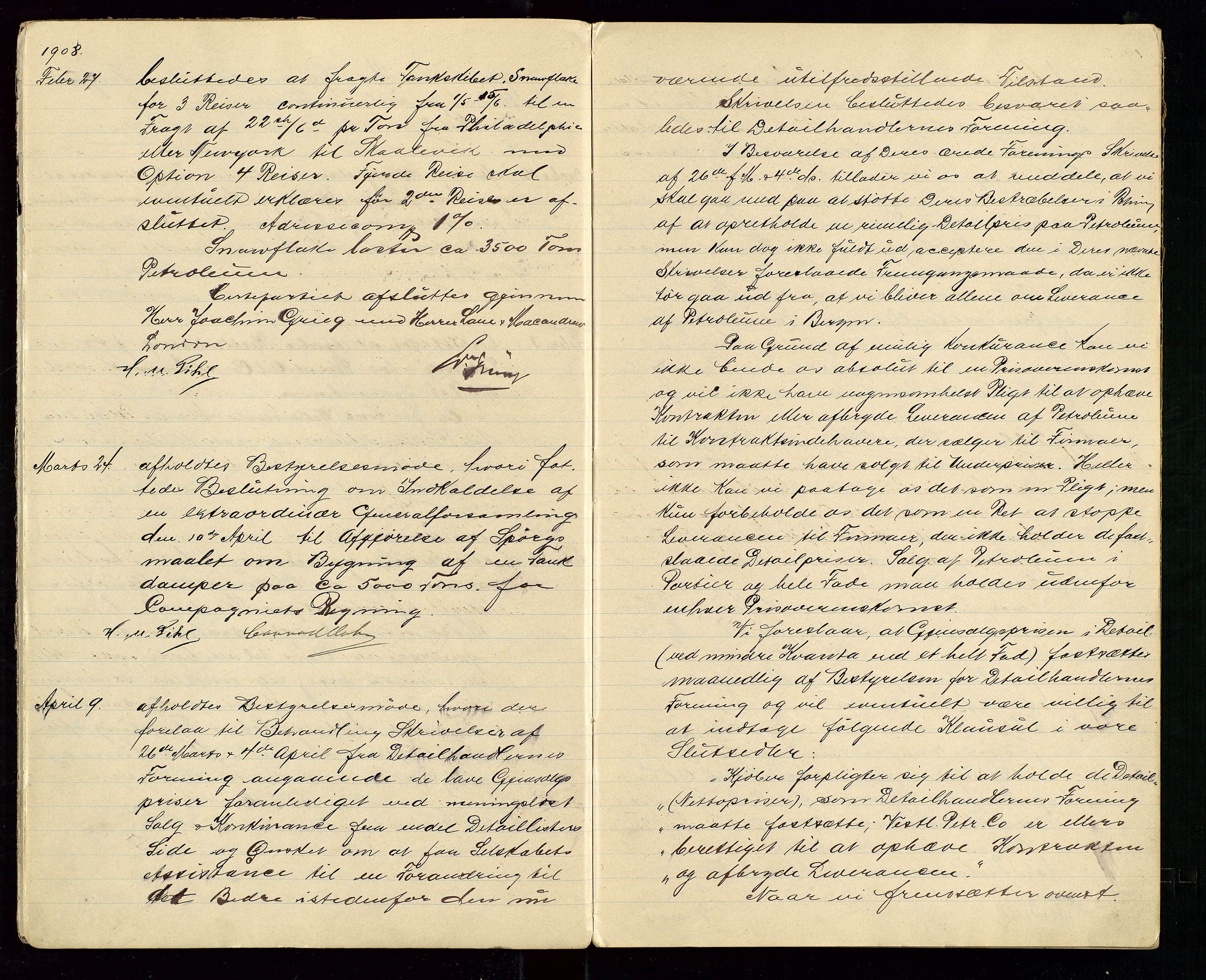 SAST, PA 1533 - A/S Vestlandske Petroleumscompani, A/Aa/L0001: Generalforsamlinger og styreprotokoller, 1907-1915, s. 5
