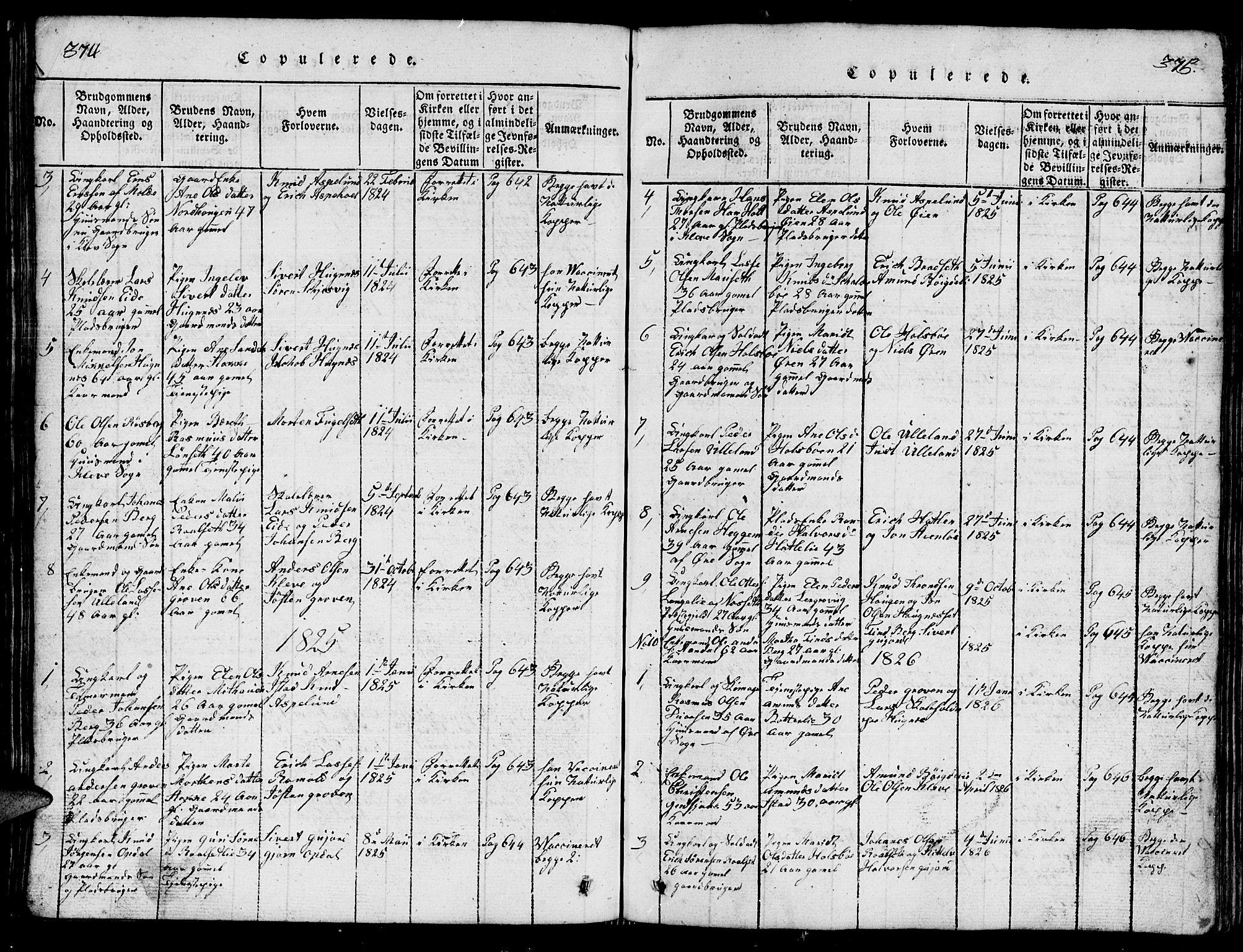 SAT, Ministerialprotokoller, klokkerbøker og fødselsregistre - Møre og Romsdal, 557/L0683: Klokkerbok nr. 557C01, 1818-1862, s. 374-375