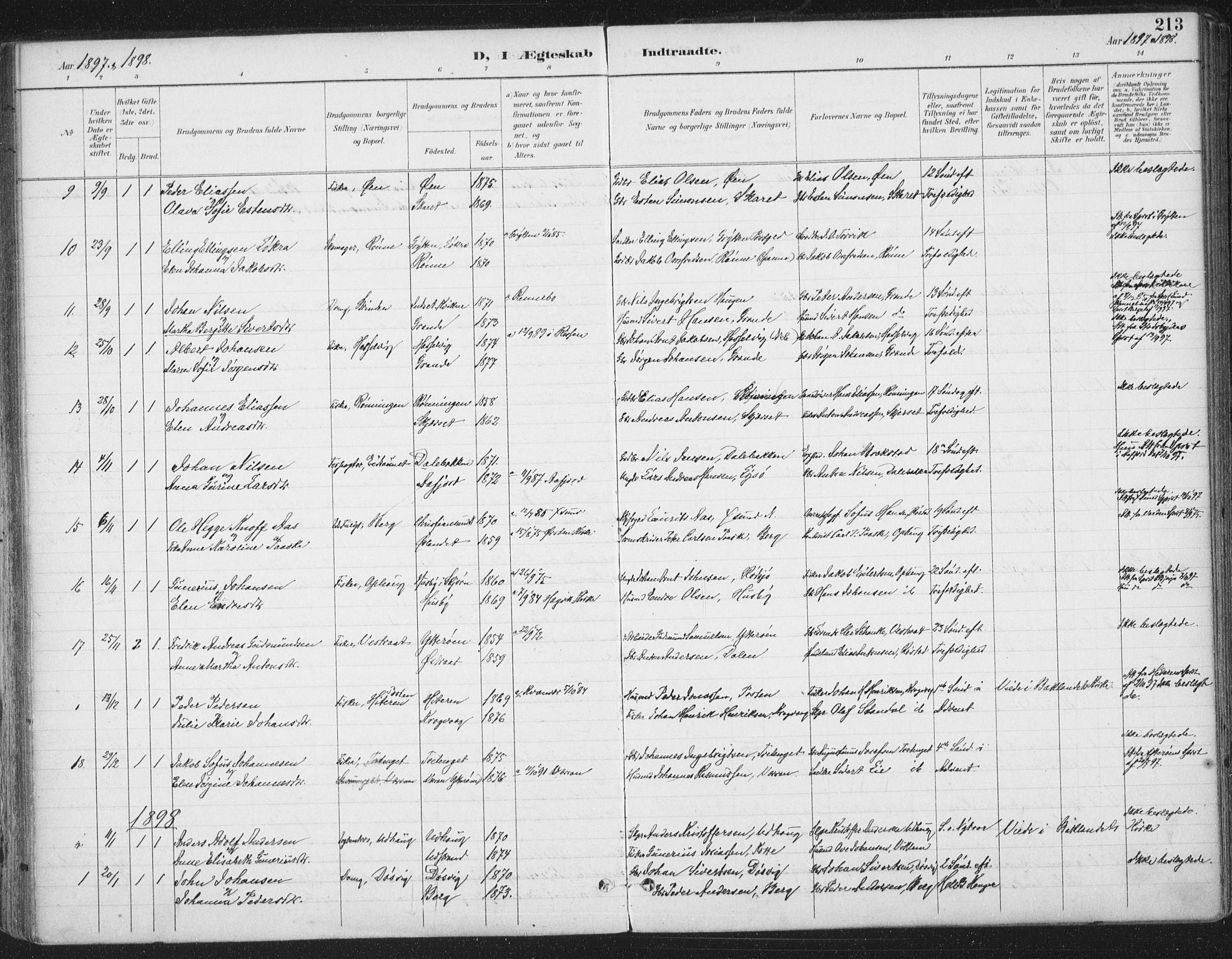 SAT, Ministerialprotokoller, klokkerbøker og fødselsregistre - Sør-Trøndelag, 659/L0743: Ministerialbok nr. 659A13, 1893-1910, s. 213