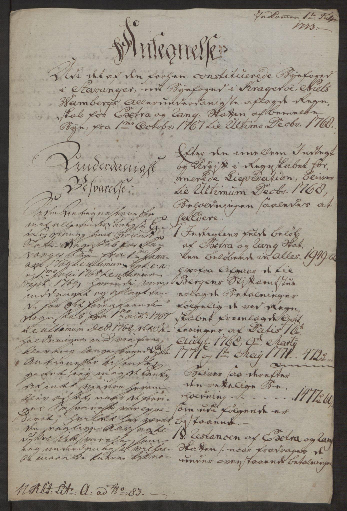 RA, Rentekammeret inntil 1814, Reviderte regnskaper, Byregnskaper, R/Ro/L0305: [O6] Kontribusjonsregnskap, 1762-1768, s. 432