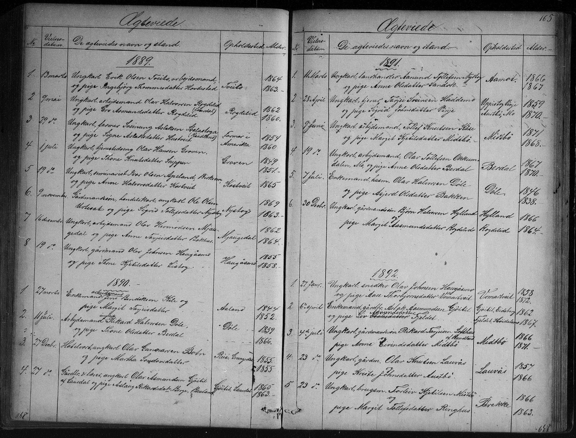 SAKO, Vinje kirkebøker, G/Ga/L0002: Klokkerbok nr. I 2, 1849-1893, s. 165