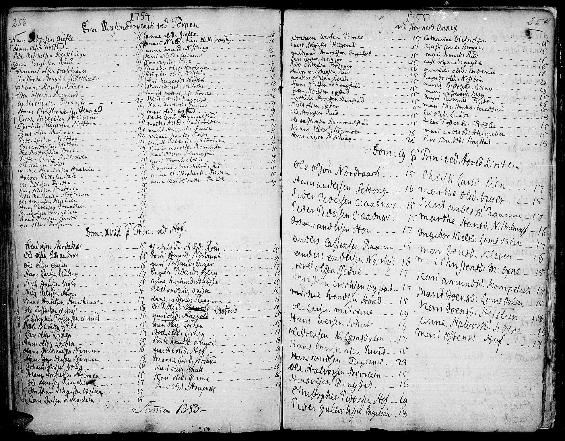SAH, Land prestekontor, Ministerialbok nr. 2, 1733-1764, s. 253-254