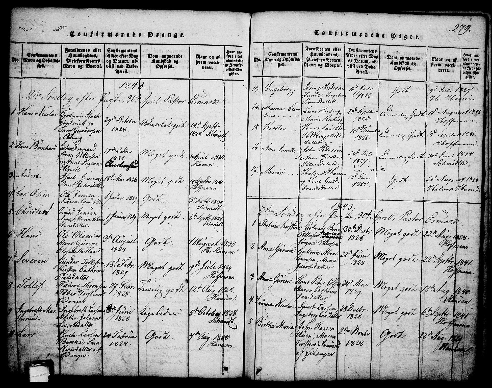 SAKO, Brevik kirkebøker, G/Ga/L0001: Klokkerbok nr. 1, 1814-1845, s. 279