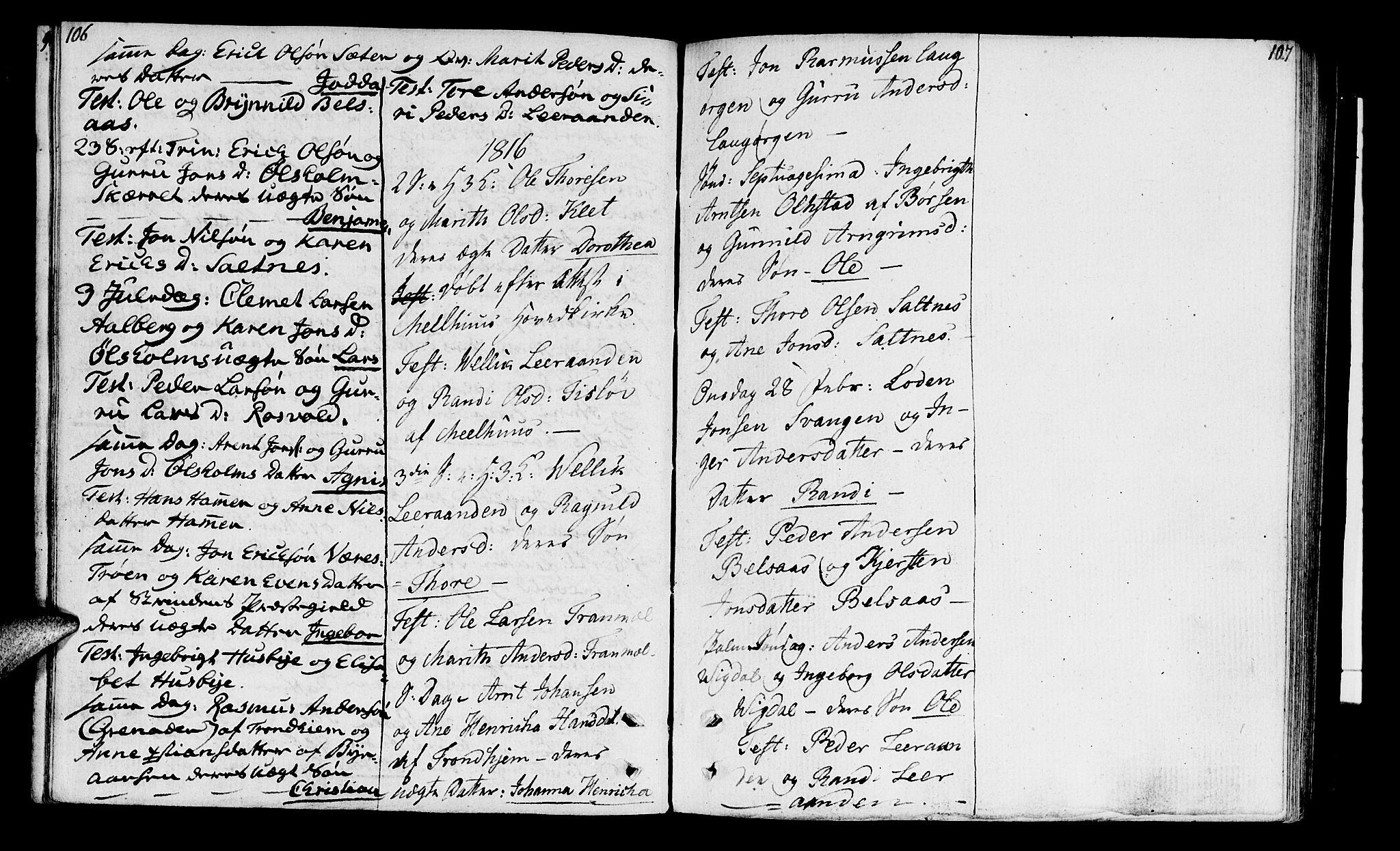 SAT, Ministerialprotokoller, klokkerbøker og fødselsregistre - Sør-Trøndelag, 666/L0785: Ministerialbok nr. 666A03, 1803-1816, s. 106-107