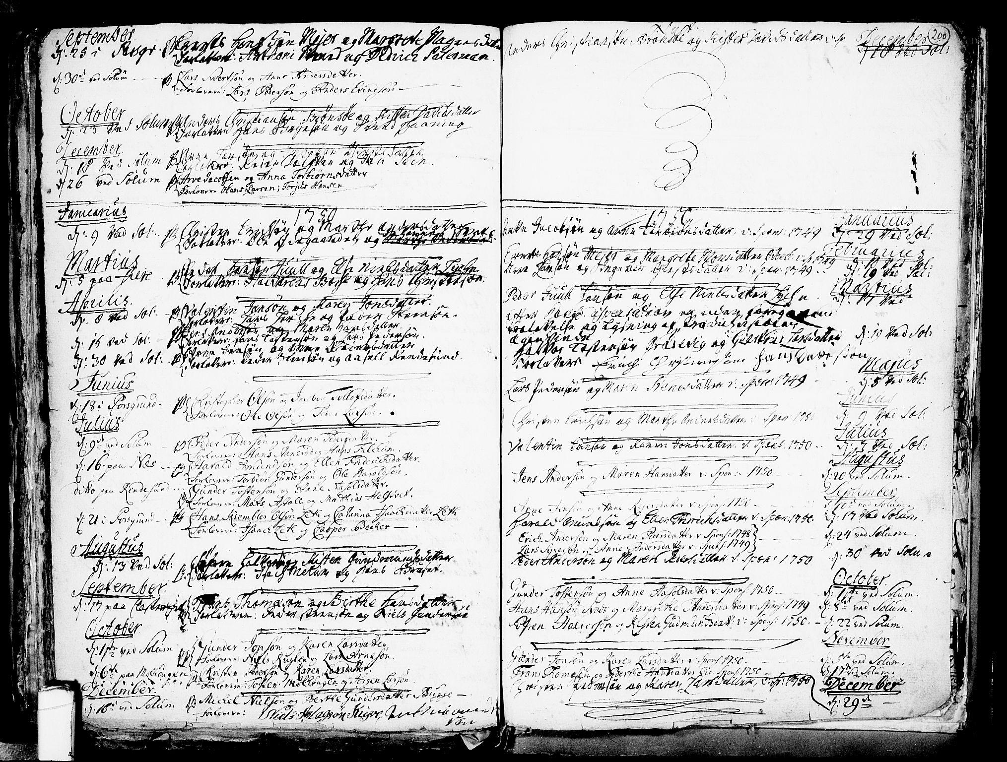 SAKO, Solum kirkebøker, F/Fa/L0002: Ministerialbok nr. I 2, 1713-1761, s. 200