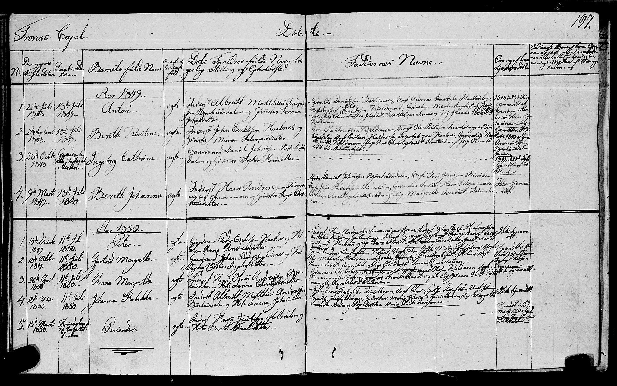 SAT, Ministerialprotokoller, klokkerbøker og fødselsregistre - Nord-Trøndelag, 762/L0538: Ministerialbok nr. 762A02 /2, 1833-1879, s. 197
